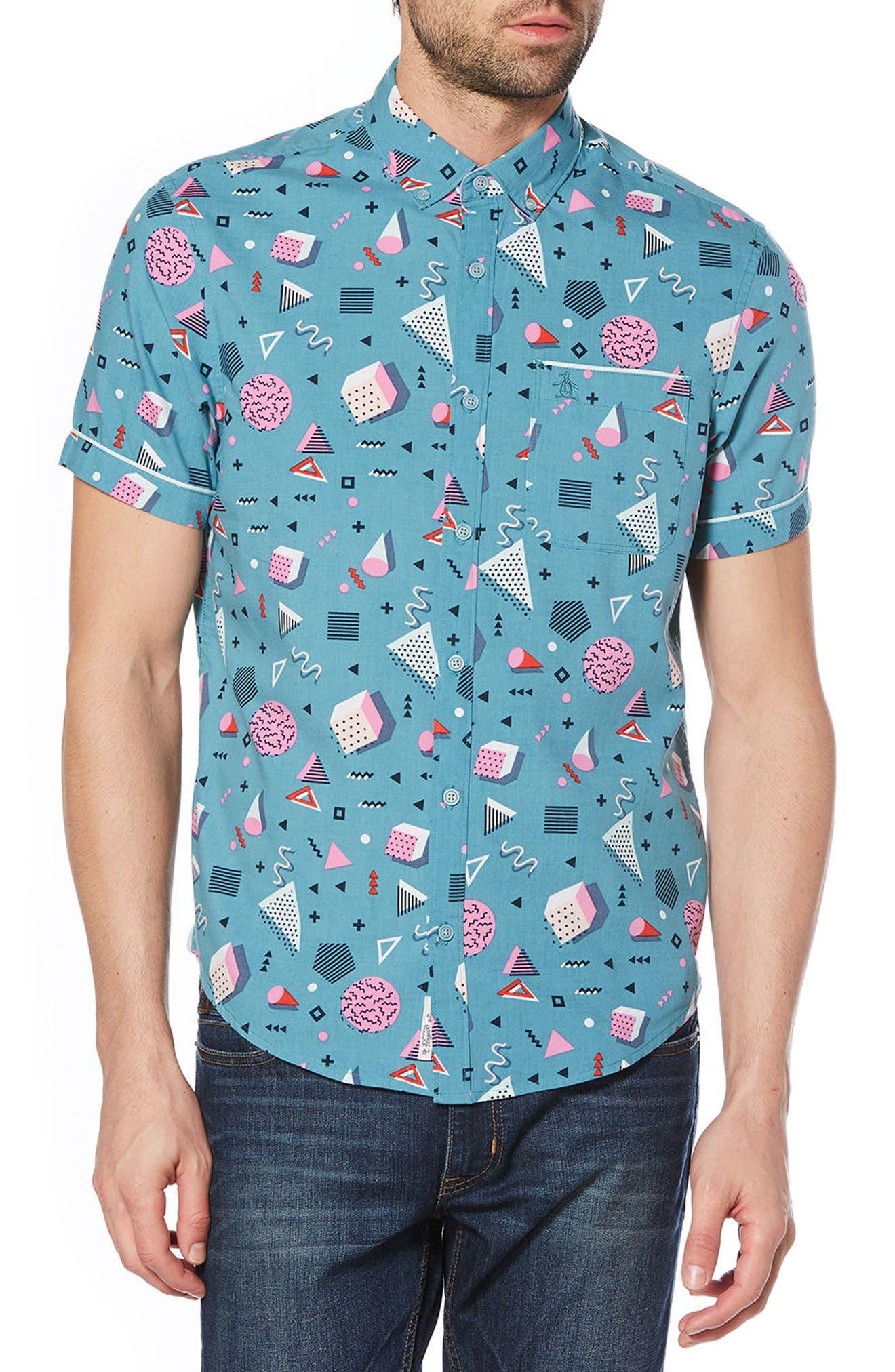 Print Woven Shirt,                         Main,                         color, Storm Blue