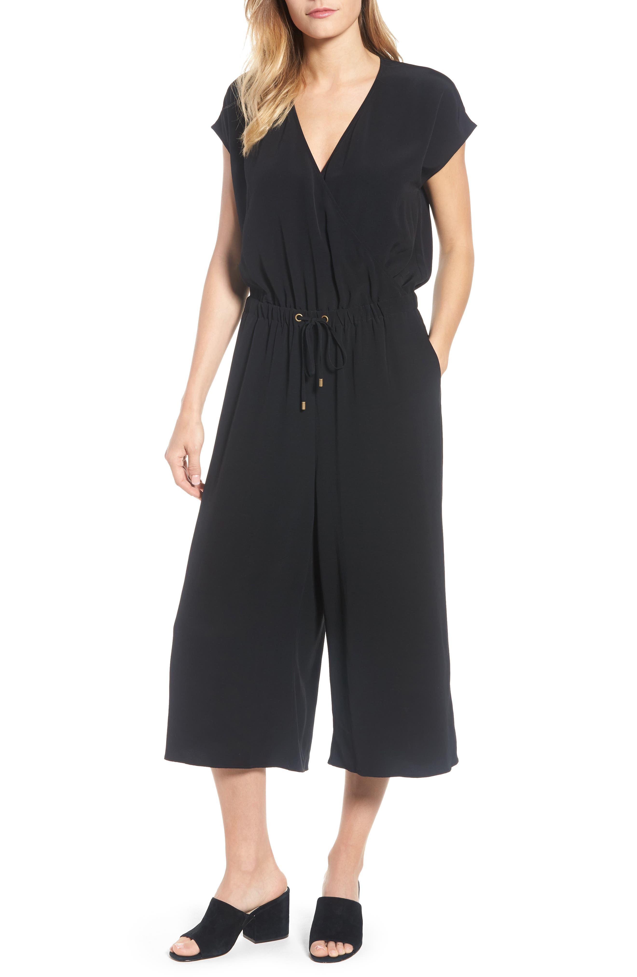 Wide Leg Crop Jumpsuit,                         Main,                         color, Black