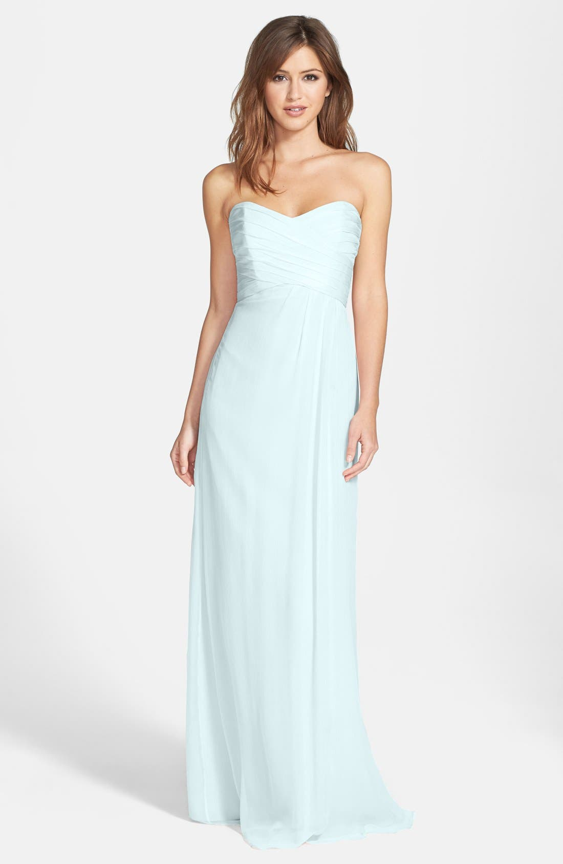 Strapless Crinkle Chiffon Gown,                             Main thumbnail 1, color,                             Ice