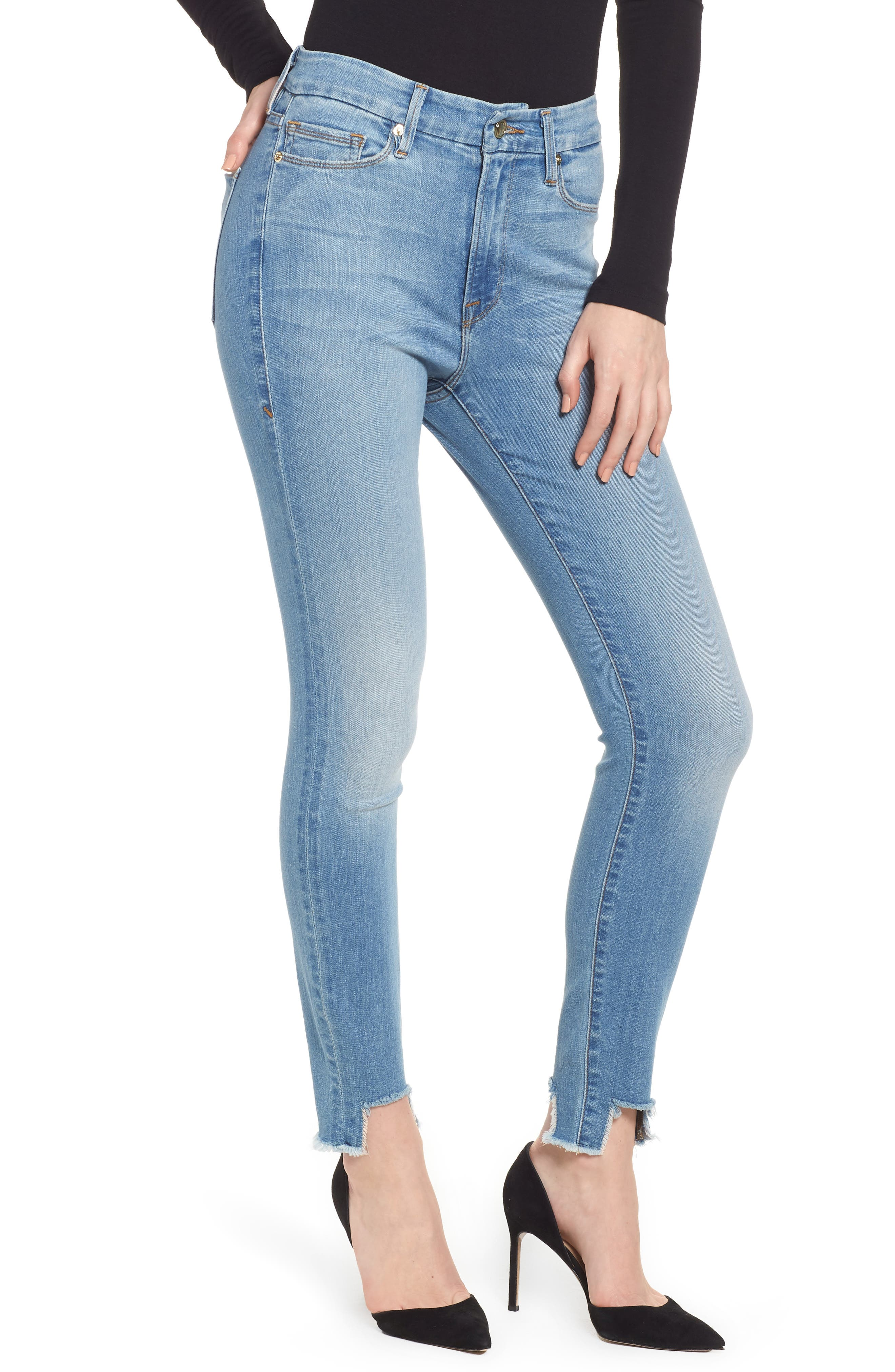 Good American Good Waist Tunnel Hem Skinny Jeans (Blue 130) (Regular & Plus Size)