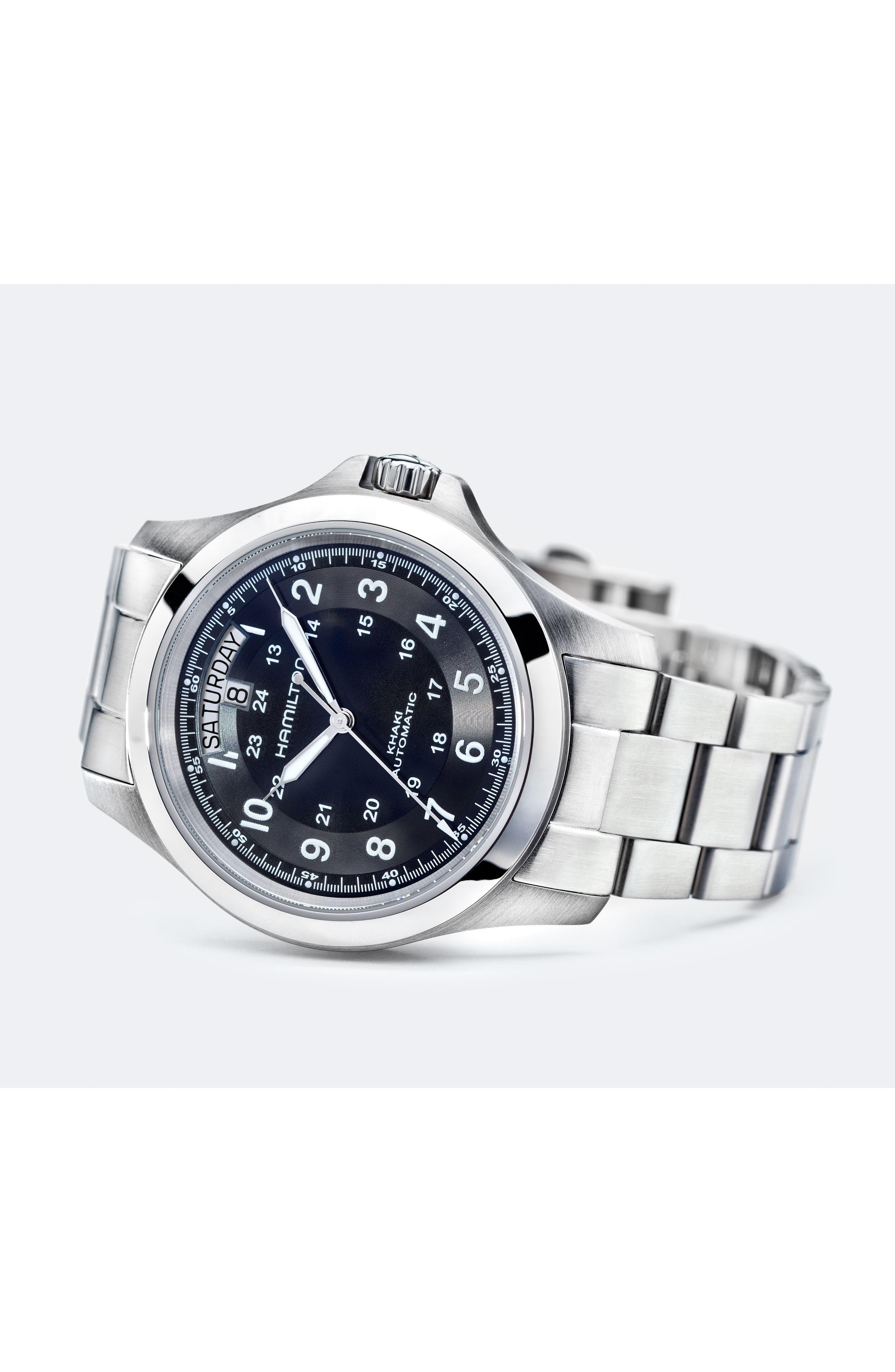 Khaki Field King Automatic Bracelet Watch, 40mm,                             Alternate thumbnail 2, color,                             Silver/ Black/ Silver