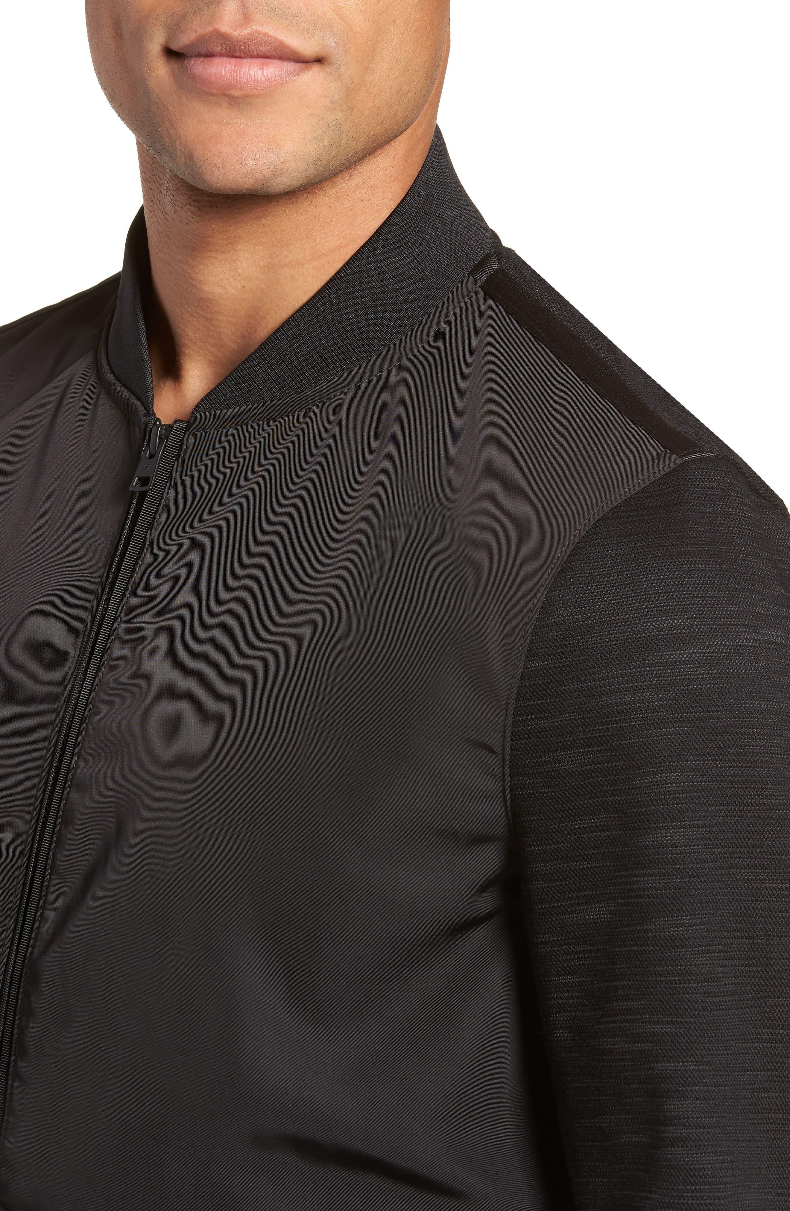 Gesso Slim Fit Bomber Jacket,                             Alternate thumbnail 4, color,                             Black
