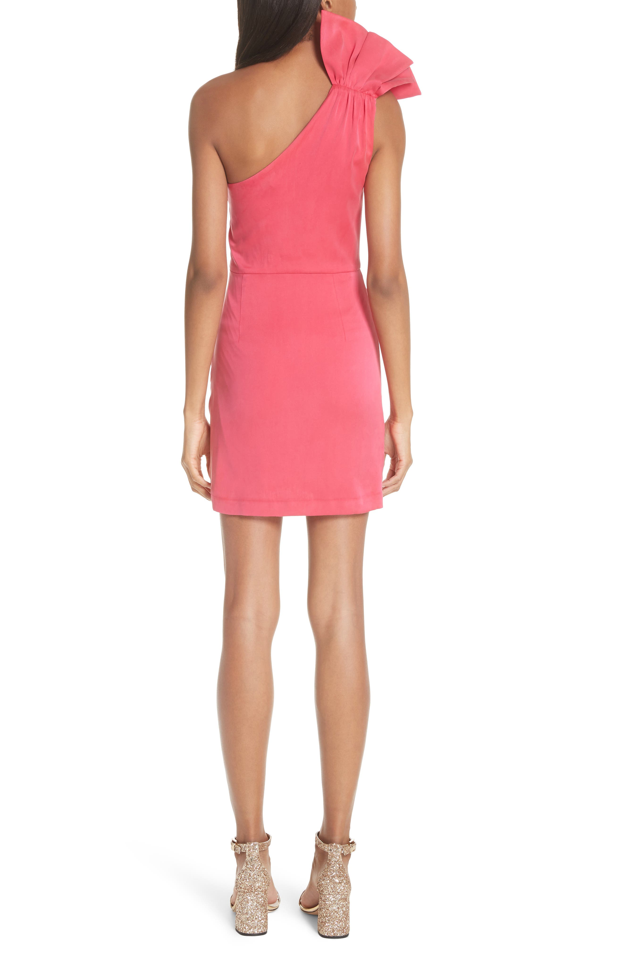 Malita One-Shoulder Fitted Mini Dress,                             Alternate thumbnail 2, color,                             Watermelon