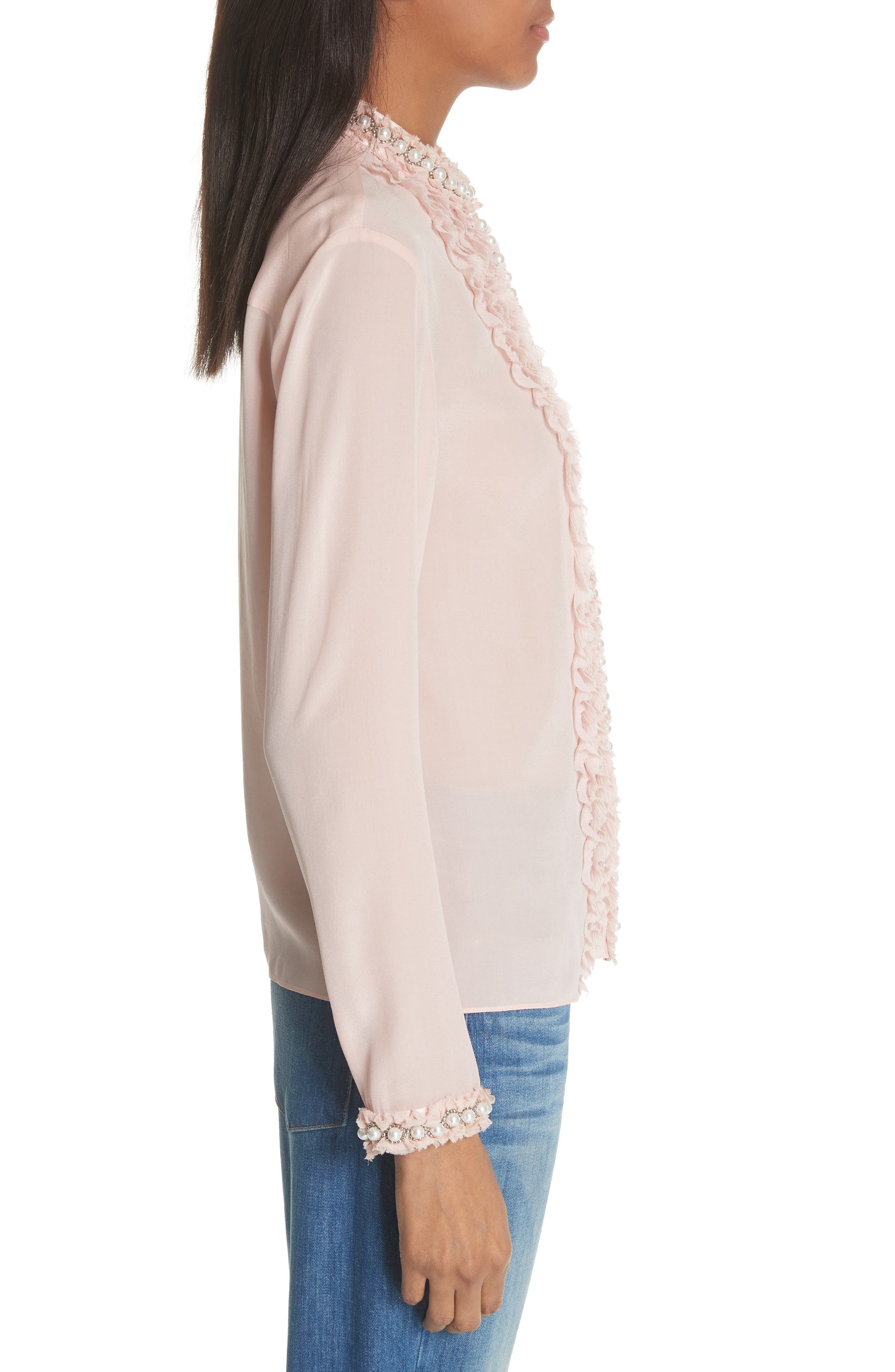 Bejeweled Button Down Silk Top,                             Alternate thumbnail 3, color,                             Blush