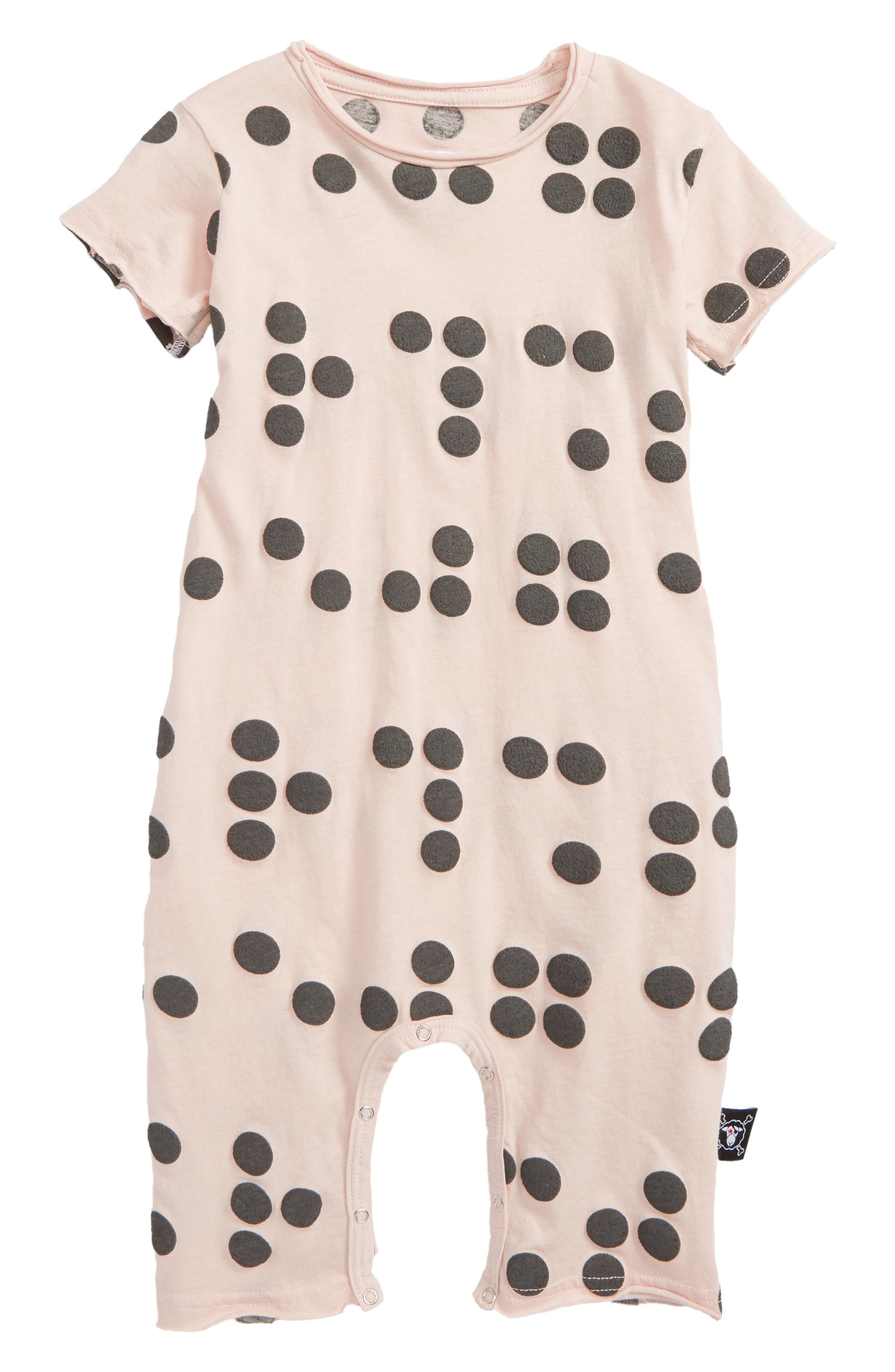 Braille Romper,                             Main thumbnail 1, color,                             Powder Pink