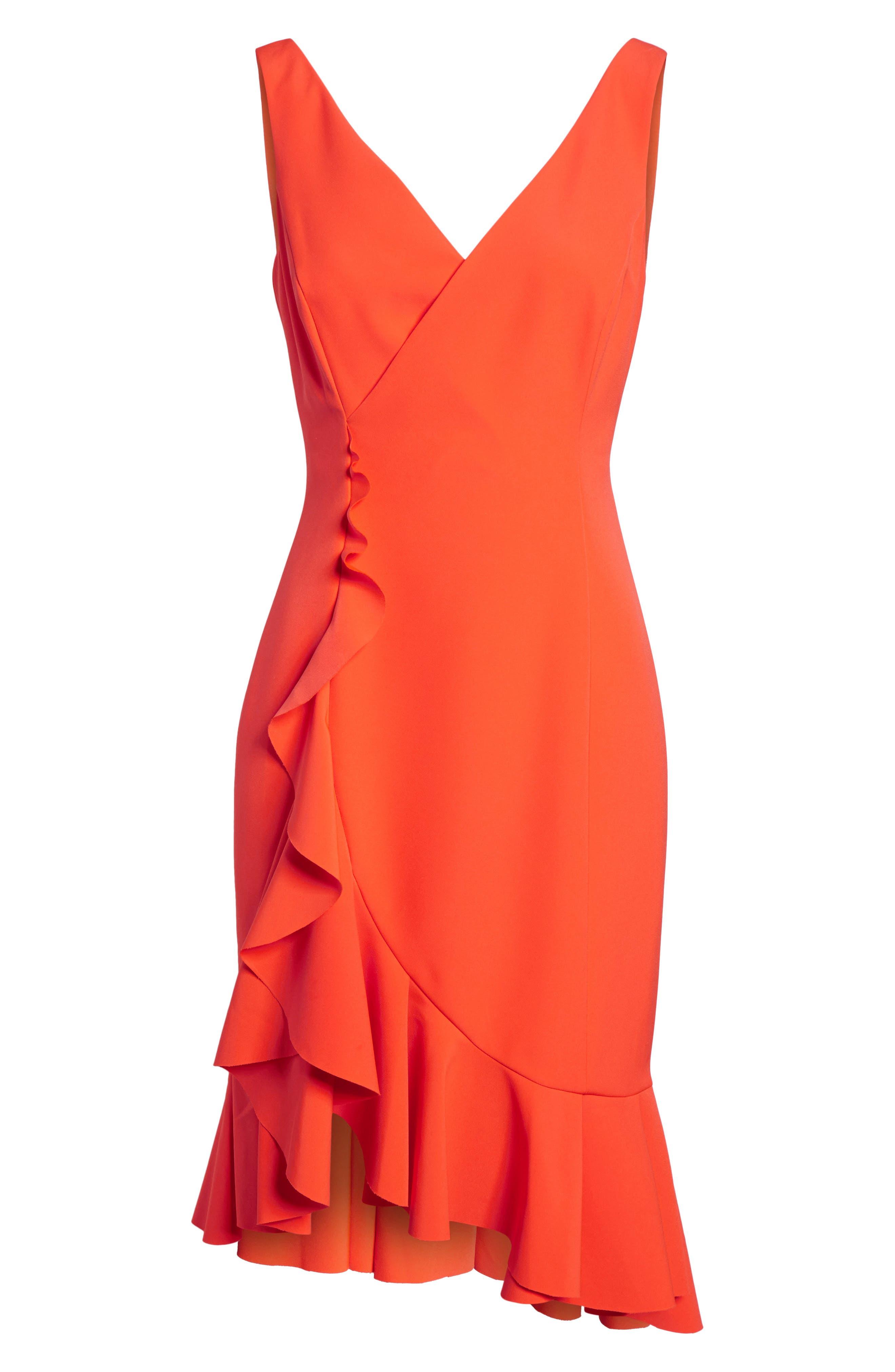 Laguna Ruffle Sheath Dress,                             Alternate thumbnail 7, color,                             Orange