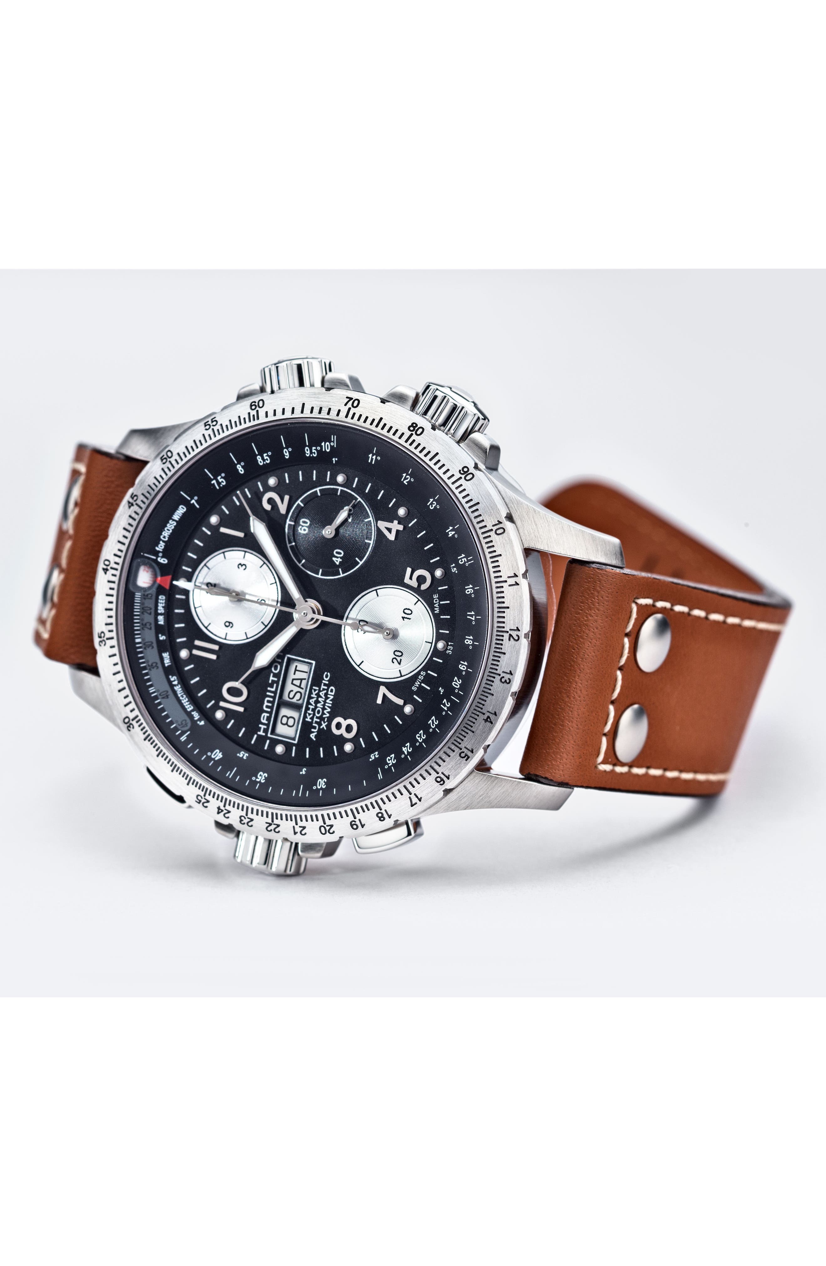 Khaki Aviation X-Wind Automatic Chronograph Leather Strap Watch, 44mm,                             Alternate thumbnail 2, color,                             Brown/ Black/ Silver