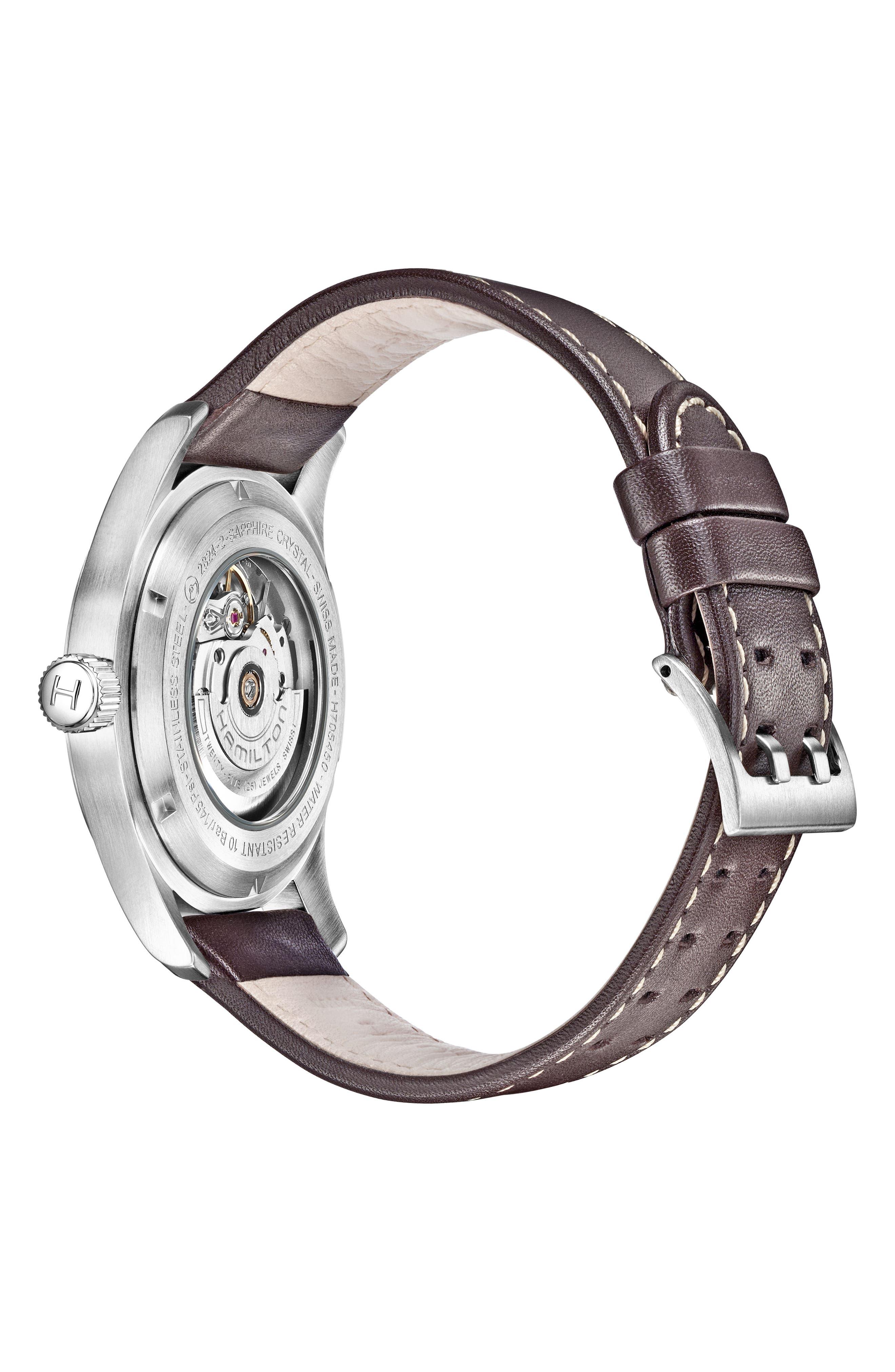 Alternate Image 2  - Hamilton Khaki Field Automatic Leather Strap Watch, 42mm