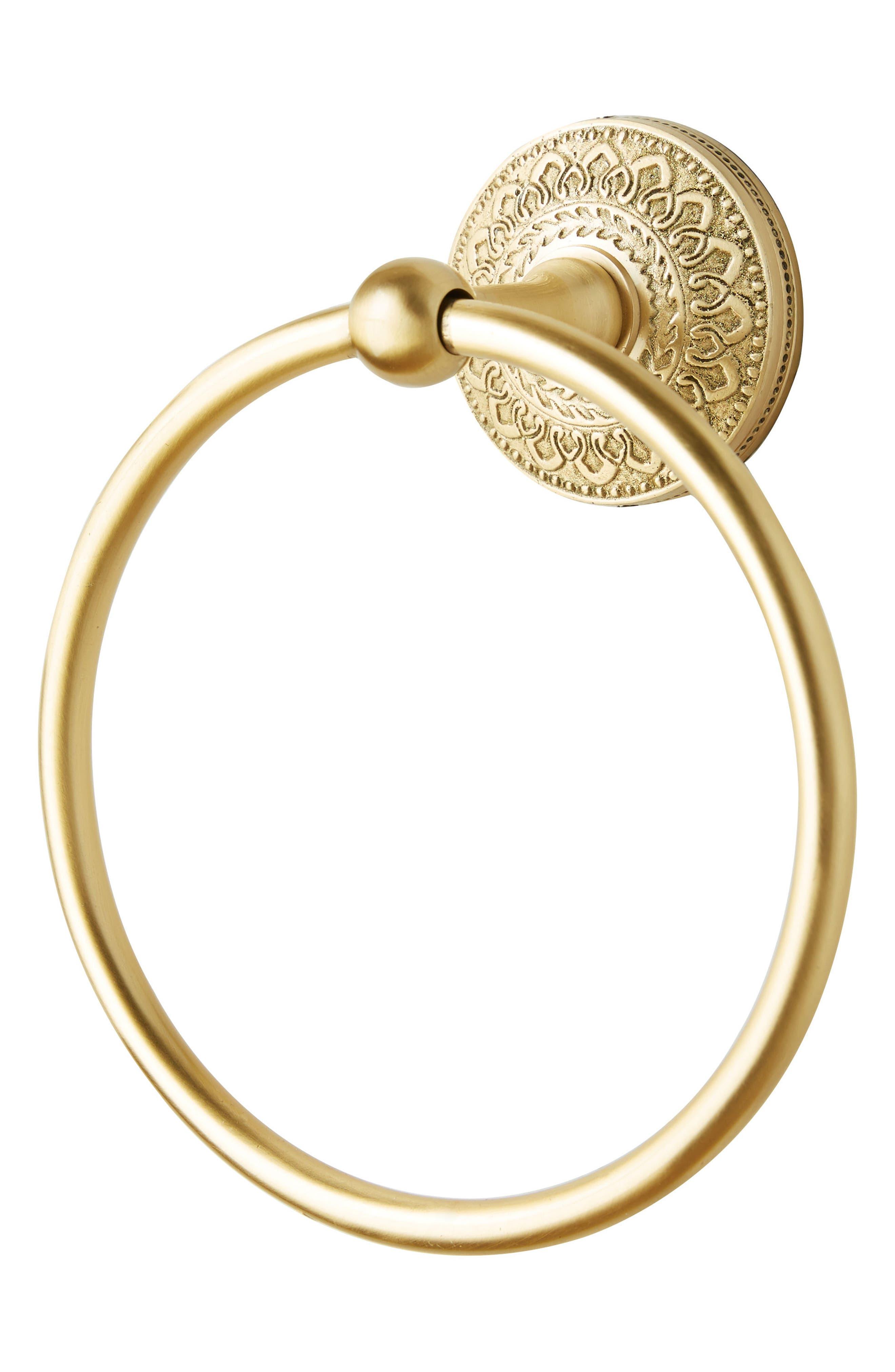 Brass Medallion Towel Ring,                             Alternate thumbnail 4, color,                             Honey