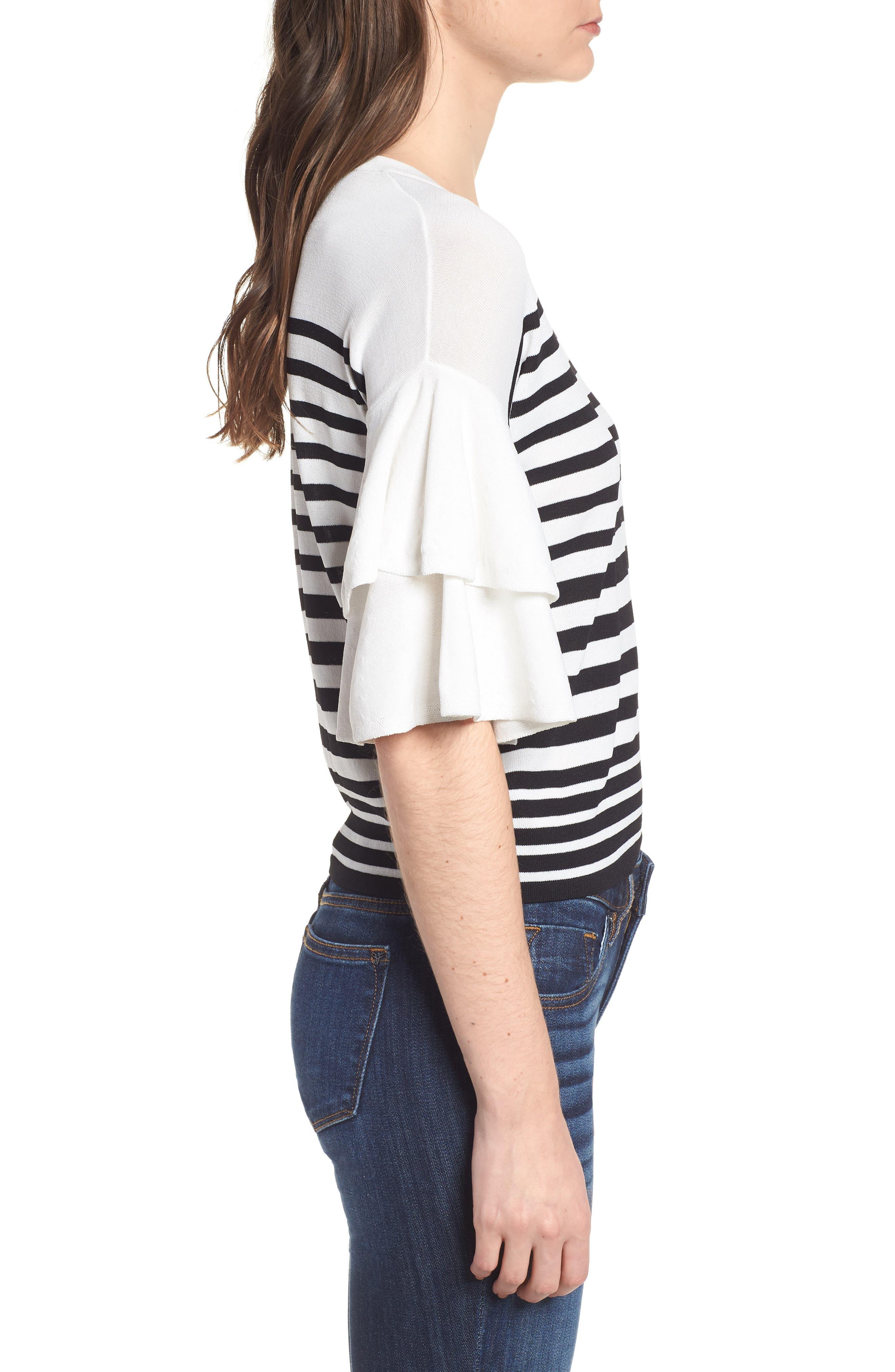 Marin Stripe Ruffle Sleeve Sweater,                             Alternate thumbnail 3, color,                             White/Black