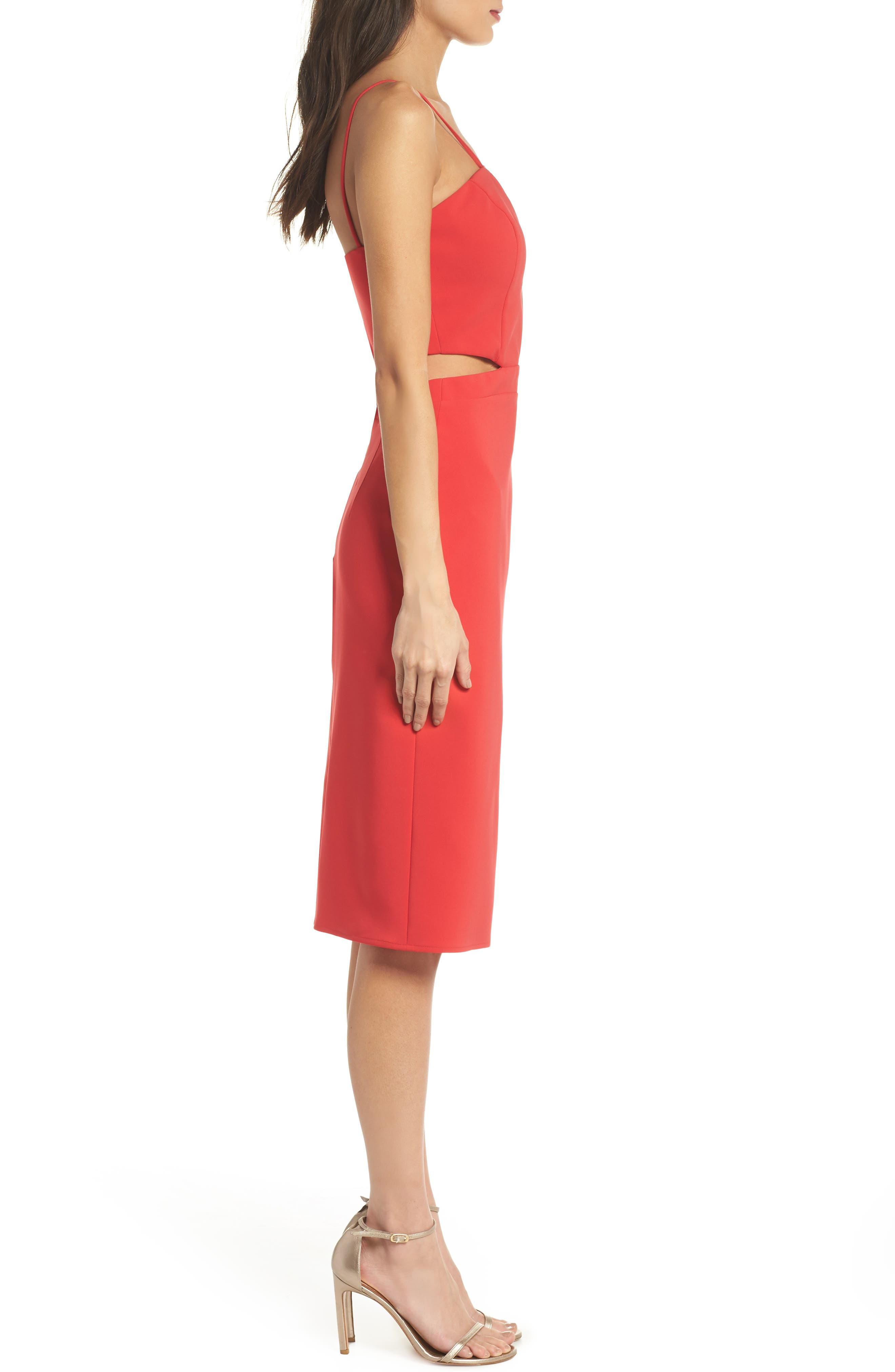 Melani Strappy Cutout Dress,                             Alternate thumbnail 3, color,                             Red