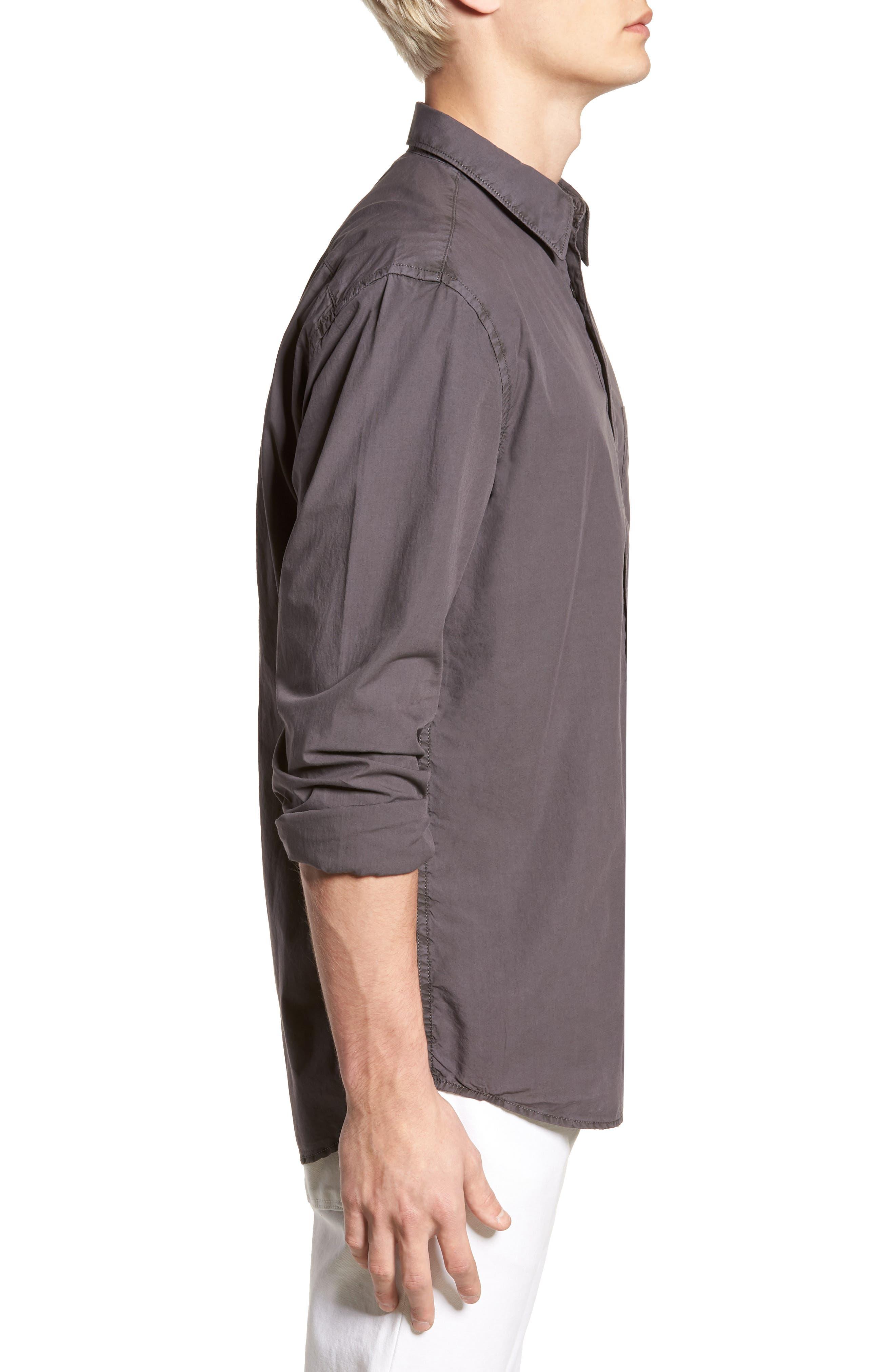 Regular Fit Garment Dyed Poplin Sport Shirt,                             Alternate thumbnail 3, color,                             Workwear Grey