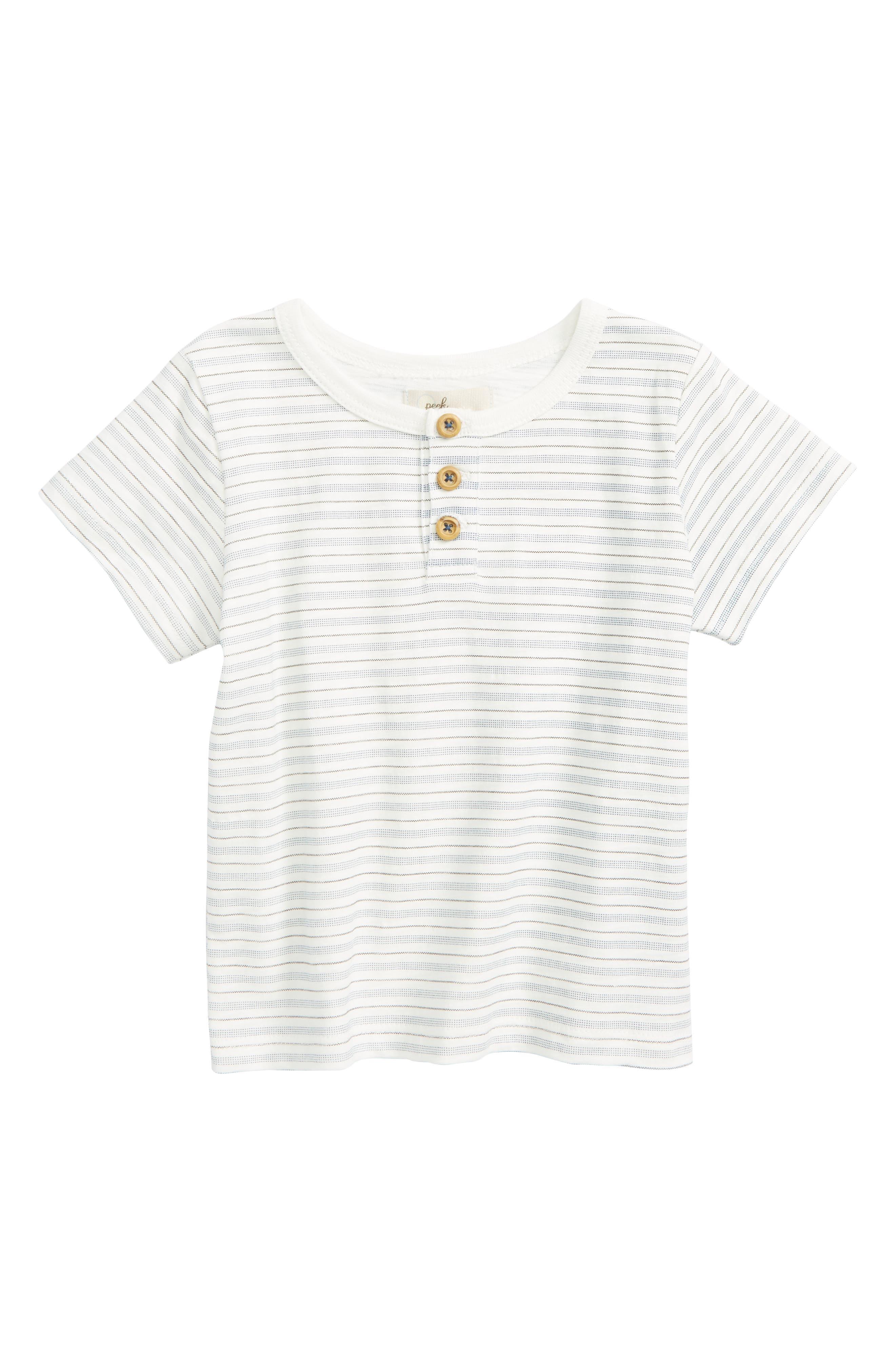 Peek Stripe Henley Top,                         Main,                         color, White