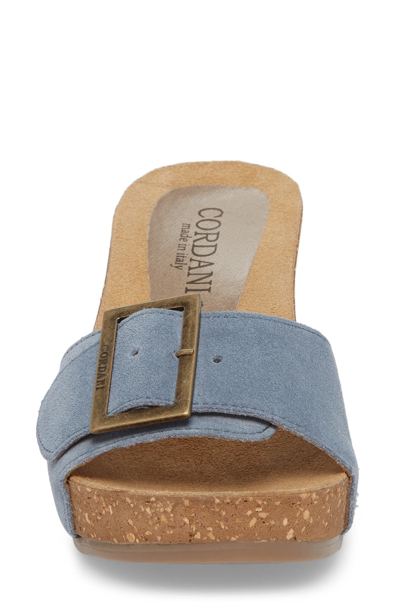 Arina Slide Sandal,                             Alternate thumbnail 4, color,                             Light Blue Suede