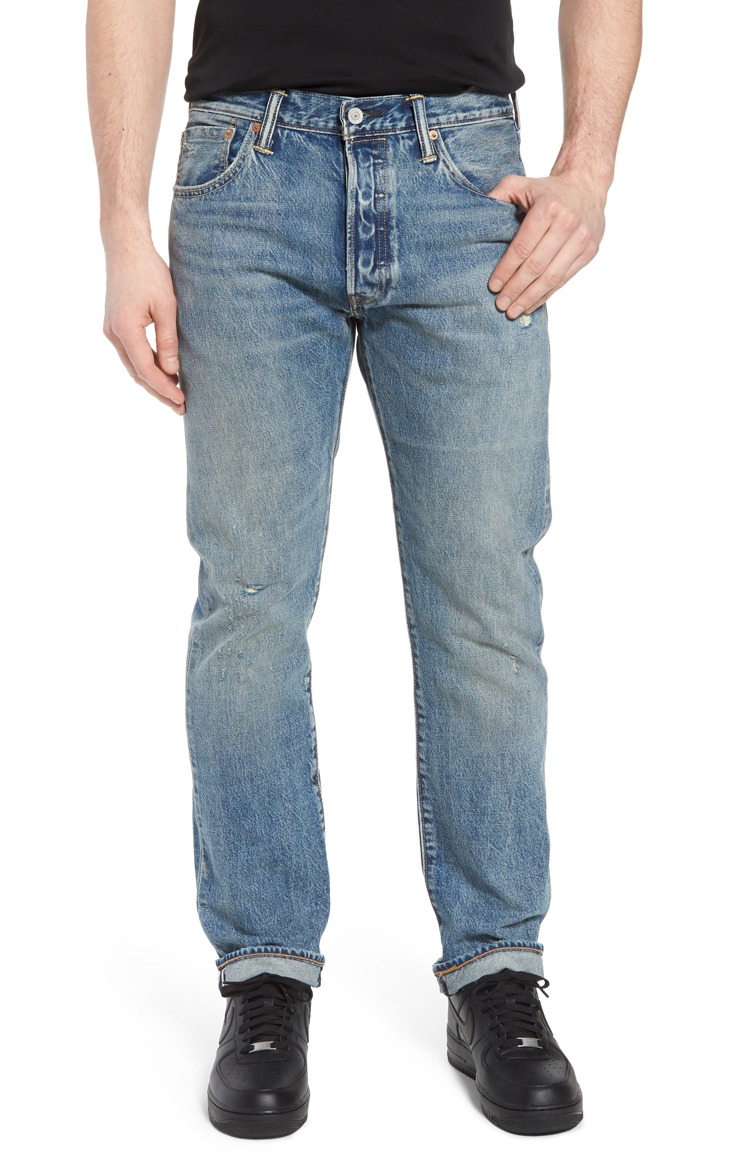501<sup>®</sup> Original Straight Leg Jeans,                         Main,                         color, Redwood Ave Selvedge