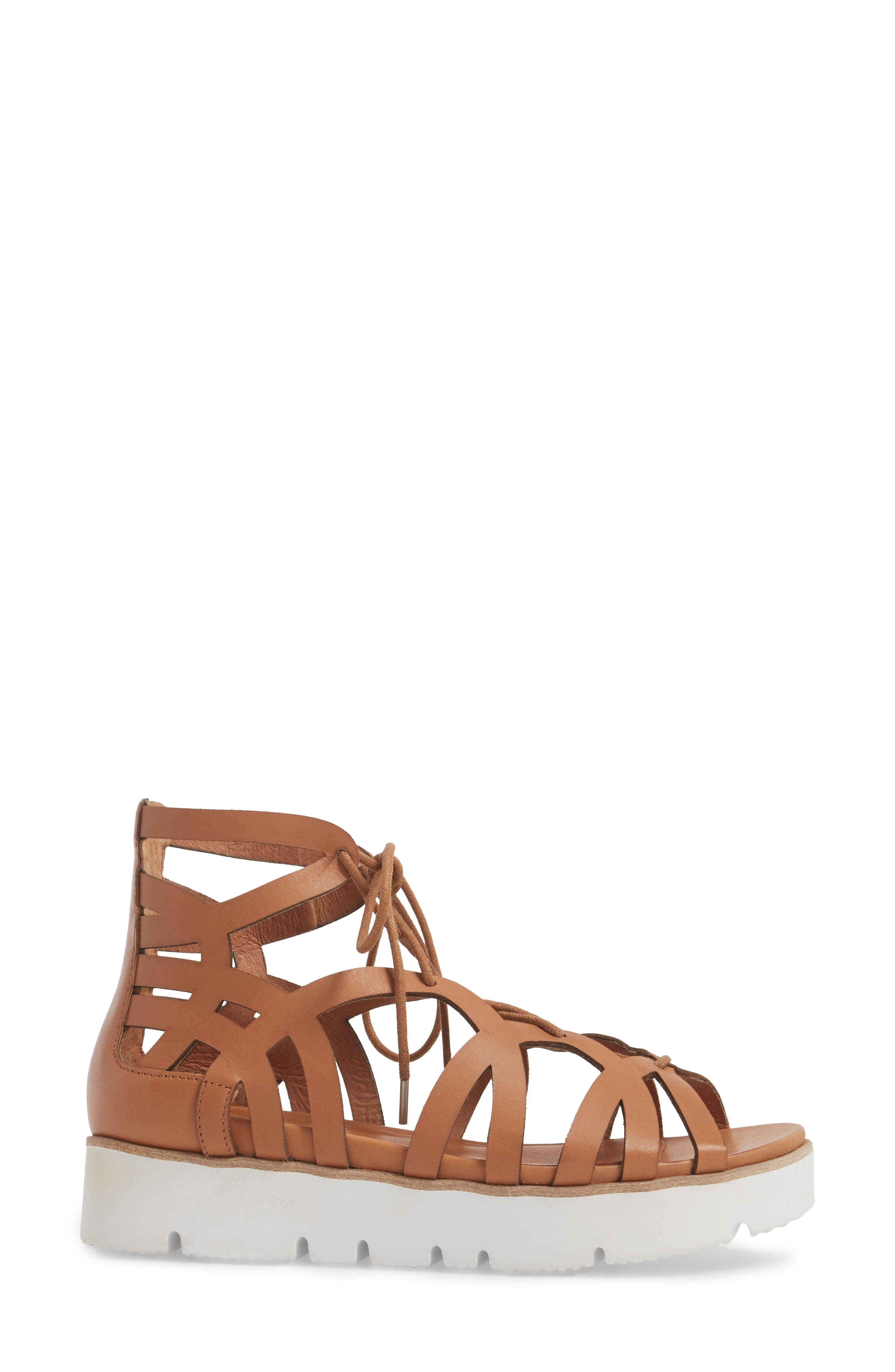 by Kenneth Cole Larina Lace-Up Sandal,                             Alternate thumbnail 3, color,                             Tan Leather