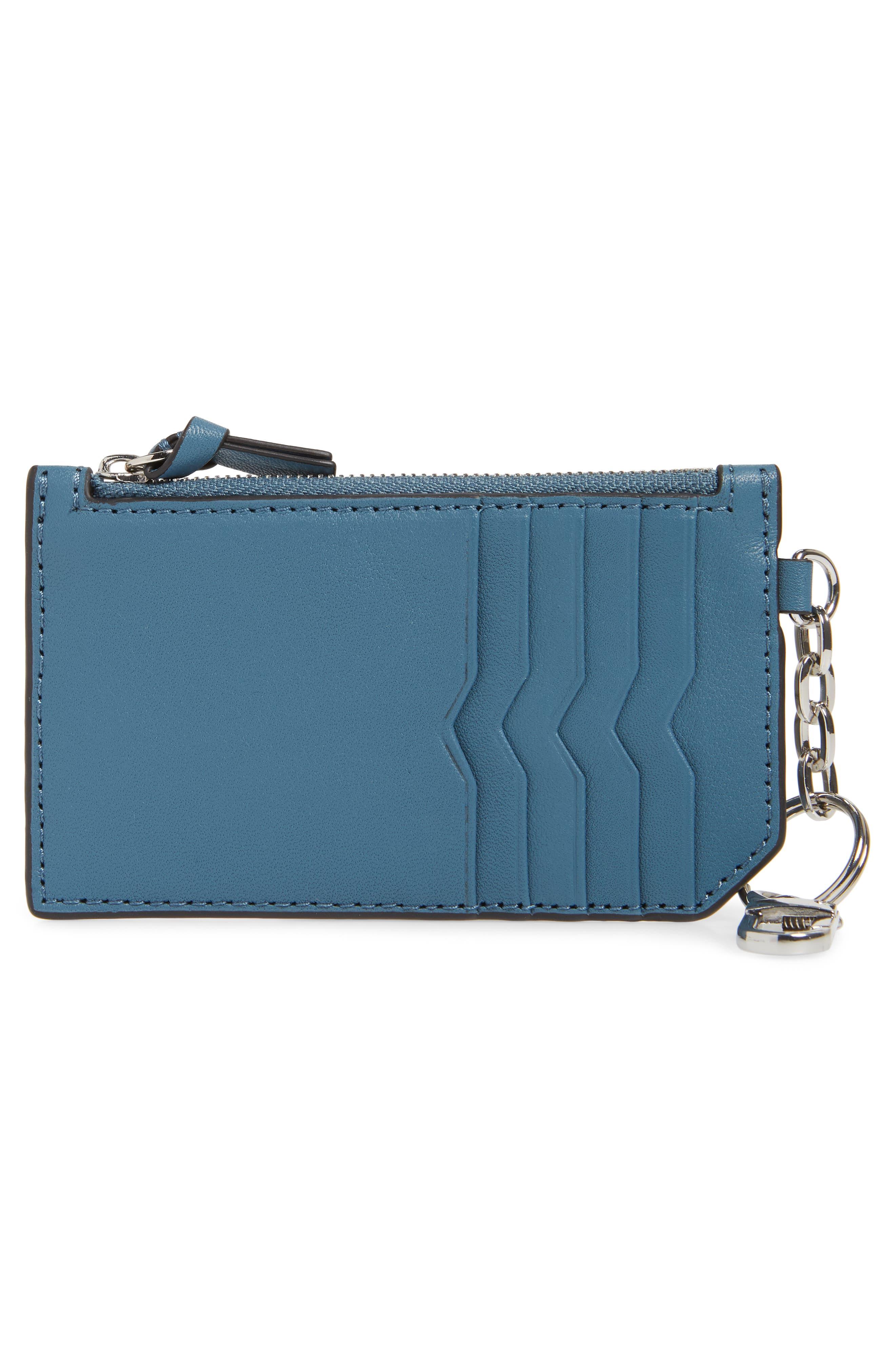 Taj Leather Card Case,                         Main,                         color, Ocean