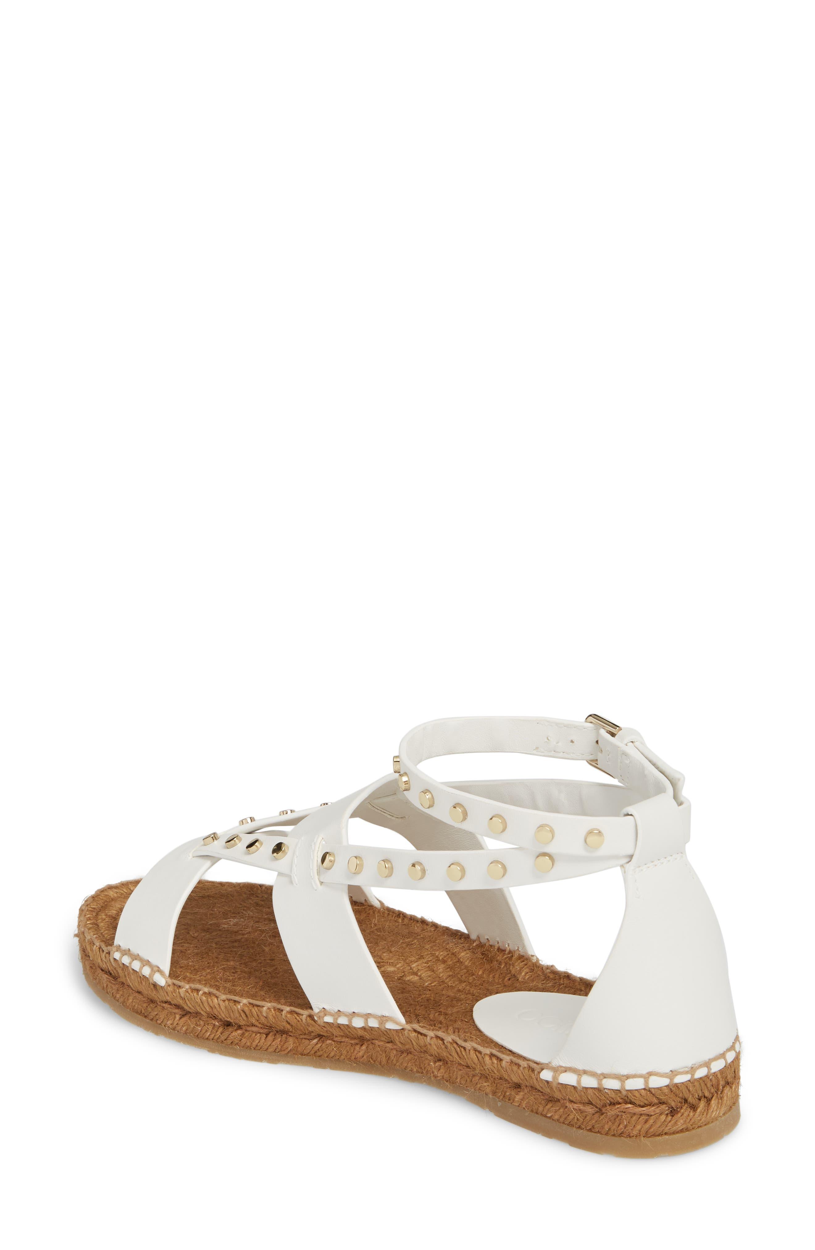 Denise Studded Espadrille Sandal,                             Alternate thumbnail 2, color,                             White