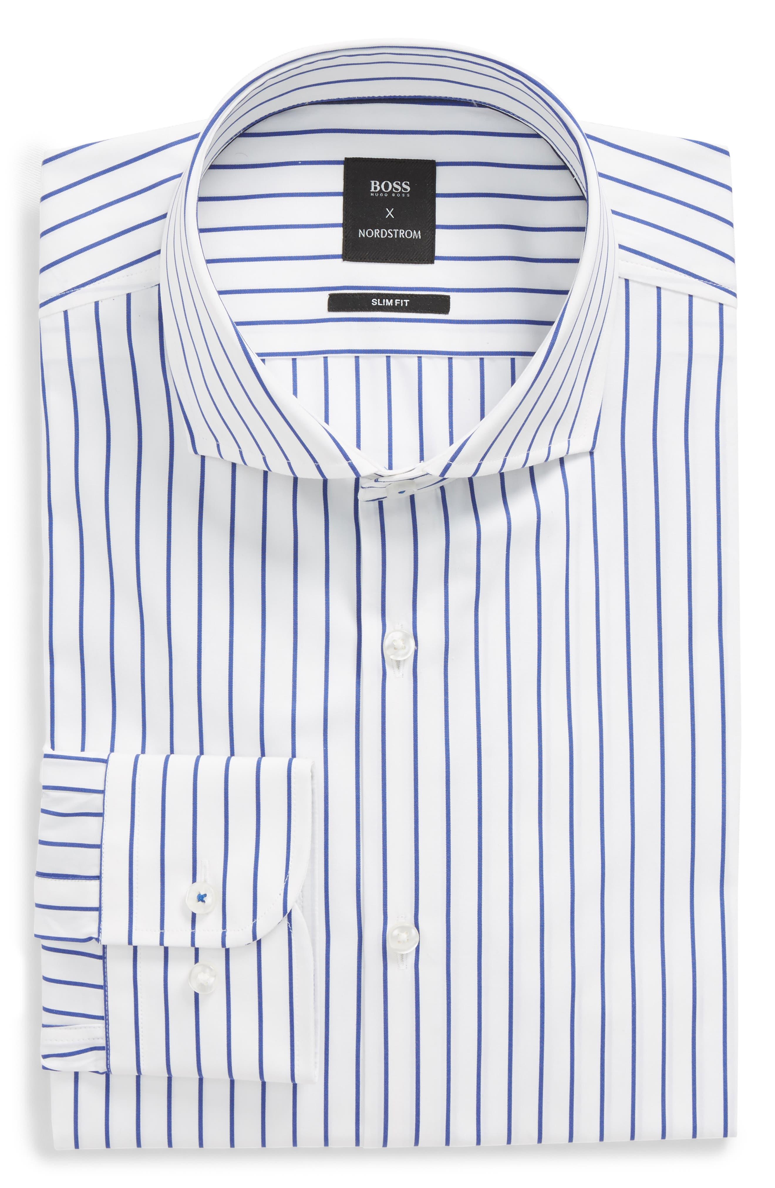 Nordstrom x BOSS Jerrin Slim Fit Stripe Dress Shirt,                             Main thumbnail 1, color,                             Blue