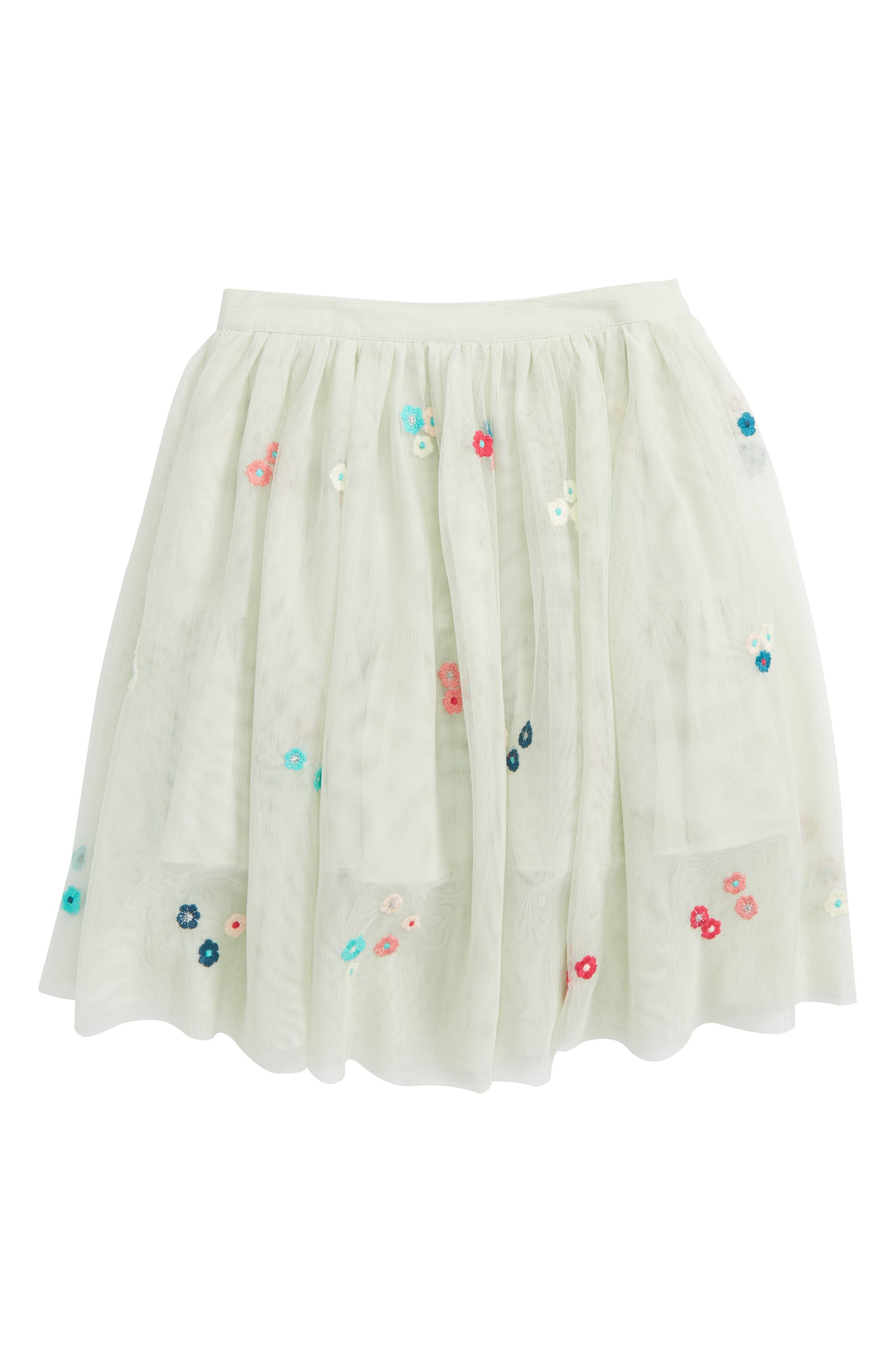 Victoria Embroidered Tulle Skirt,                         Main,                         color, Mint