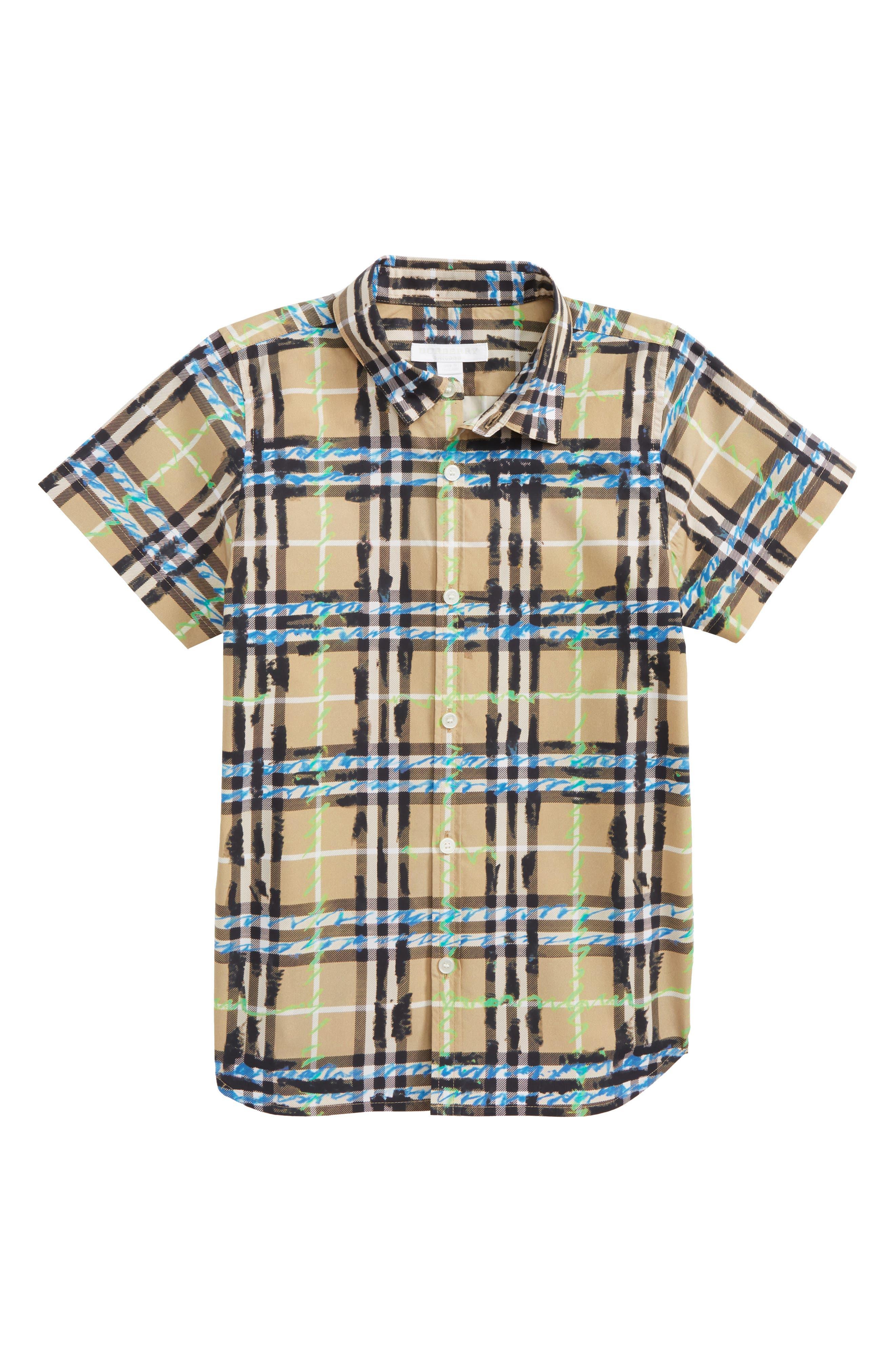Clarkey Scribble Check Woven Shirt,                             Main thumbnail 1, color,                             Bright Blue