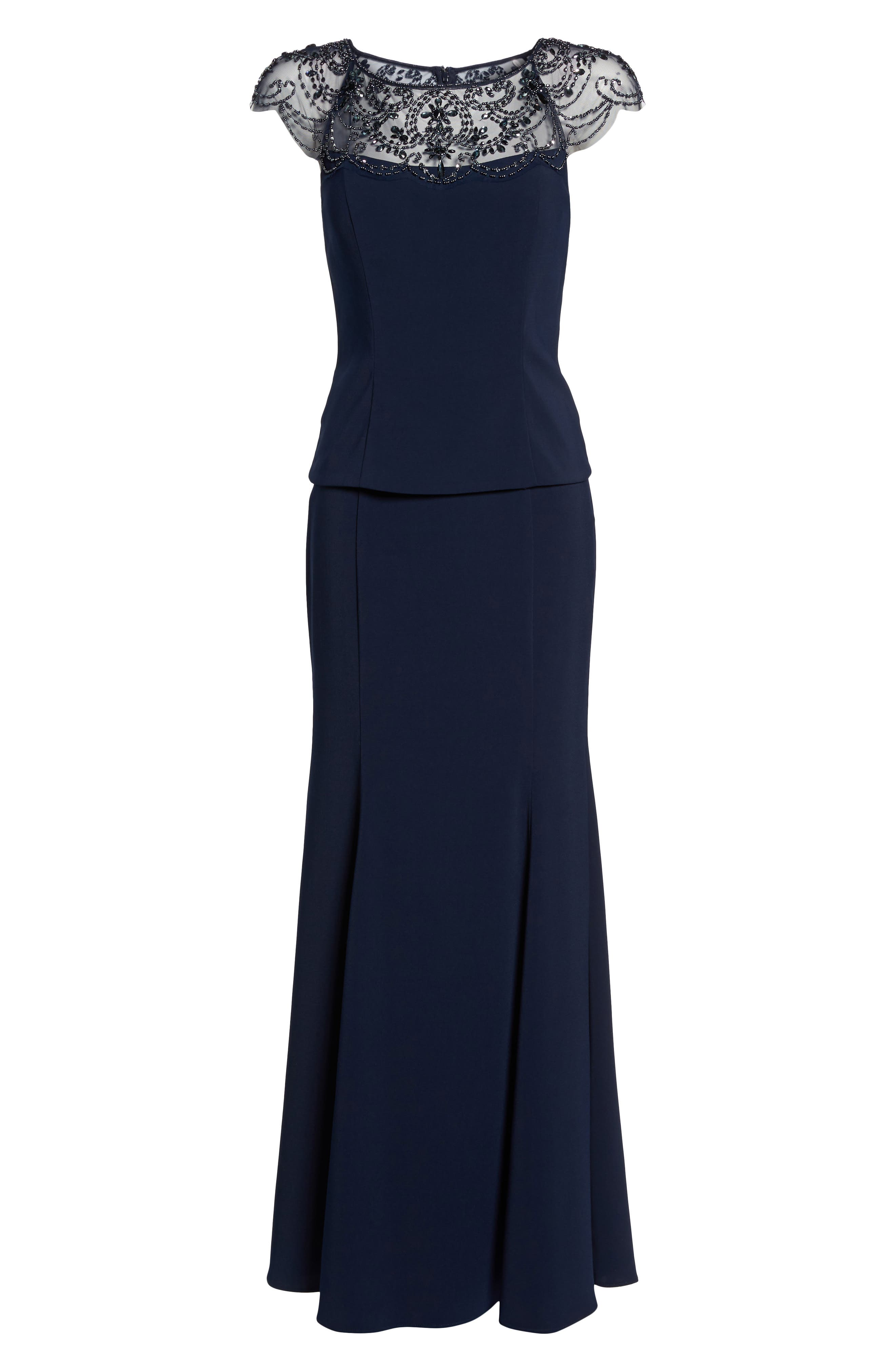 Beaded Crepe Trumpet Gown,                             Alternate thumbnail 6, color,                             Navy/ Navy