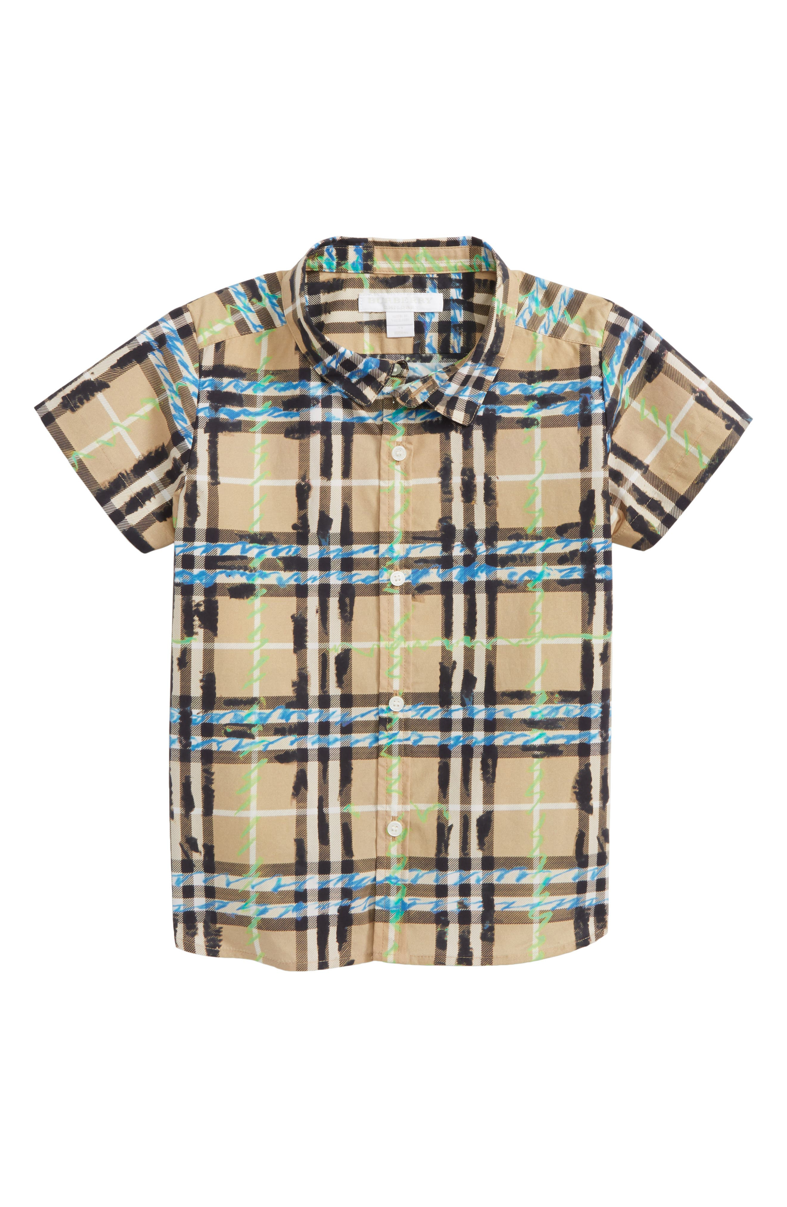 Alternate Image 1 Selected - Burberry Clarkey Scribble Plaid Woven Shirt (Toddler Boys)