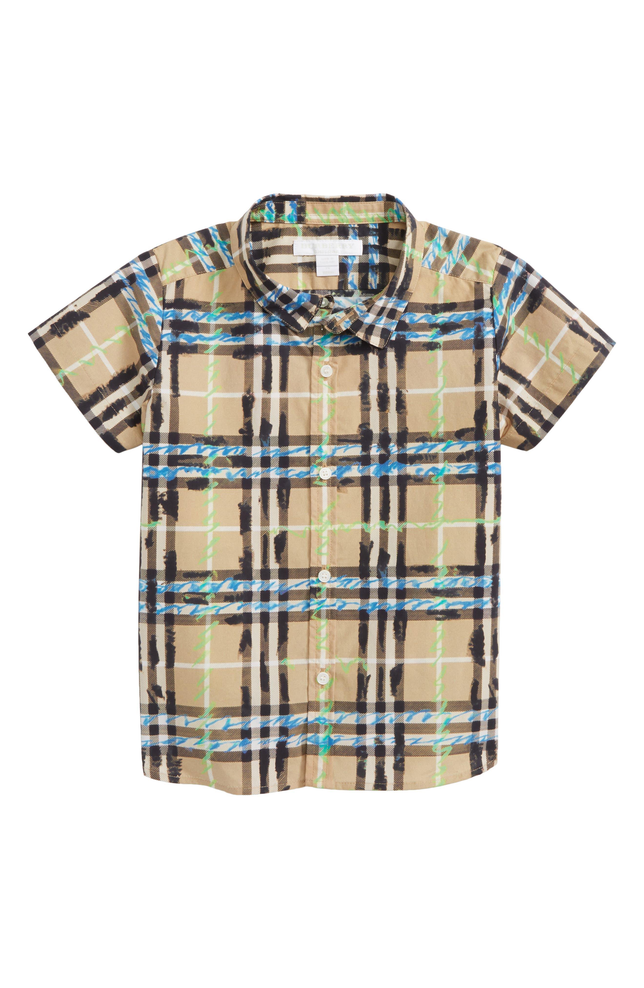 Main Image - Burberry Clarkey Scribble Plaid Woven Shirt (Toddler Boys)