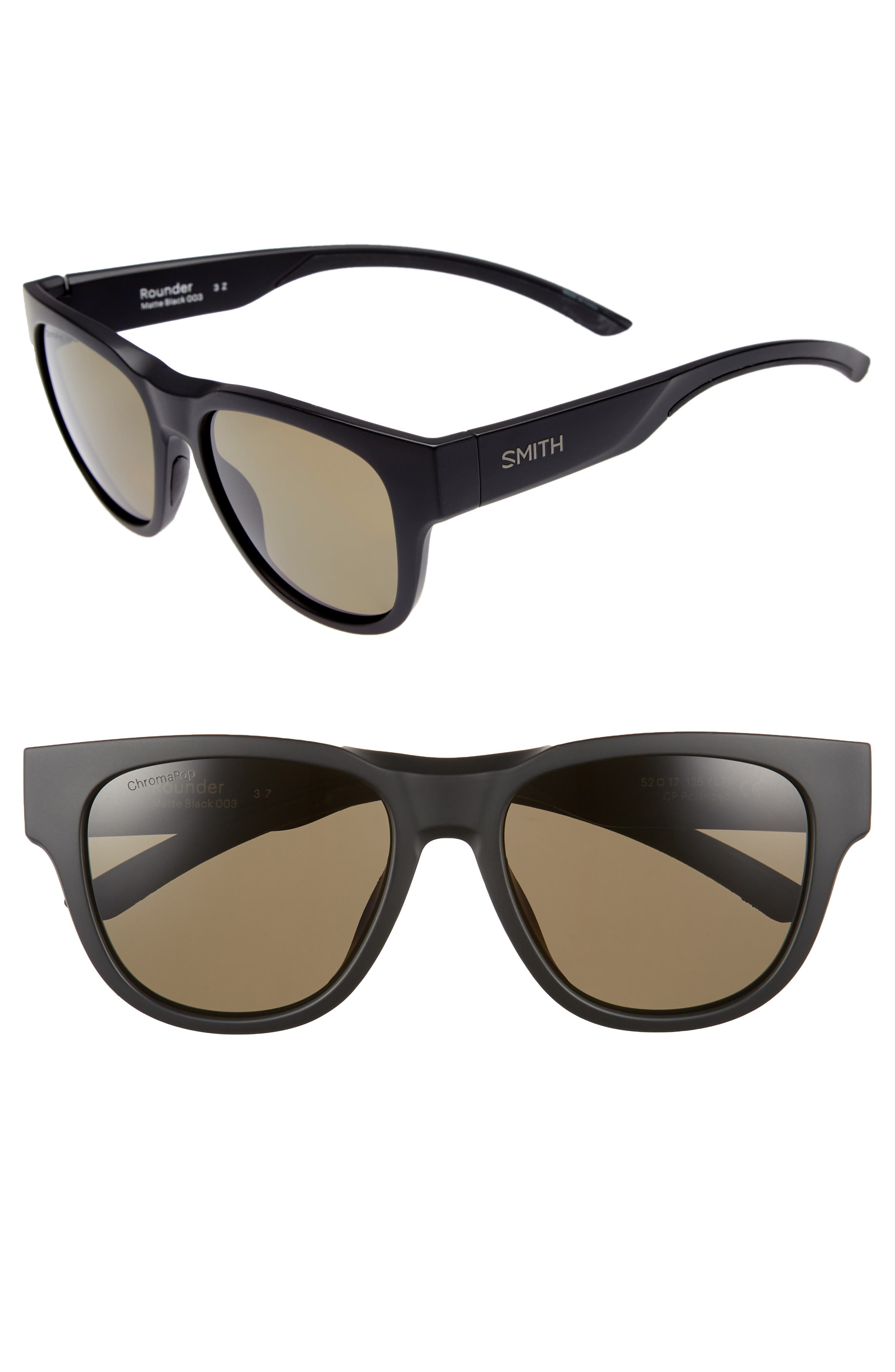 SMITH ROUNDER 52MM CHROMAPOP POLARIZED SUNGLASSES - MATTE BLACK