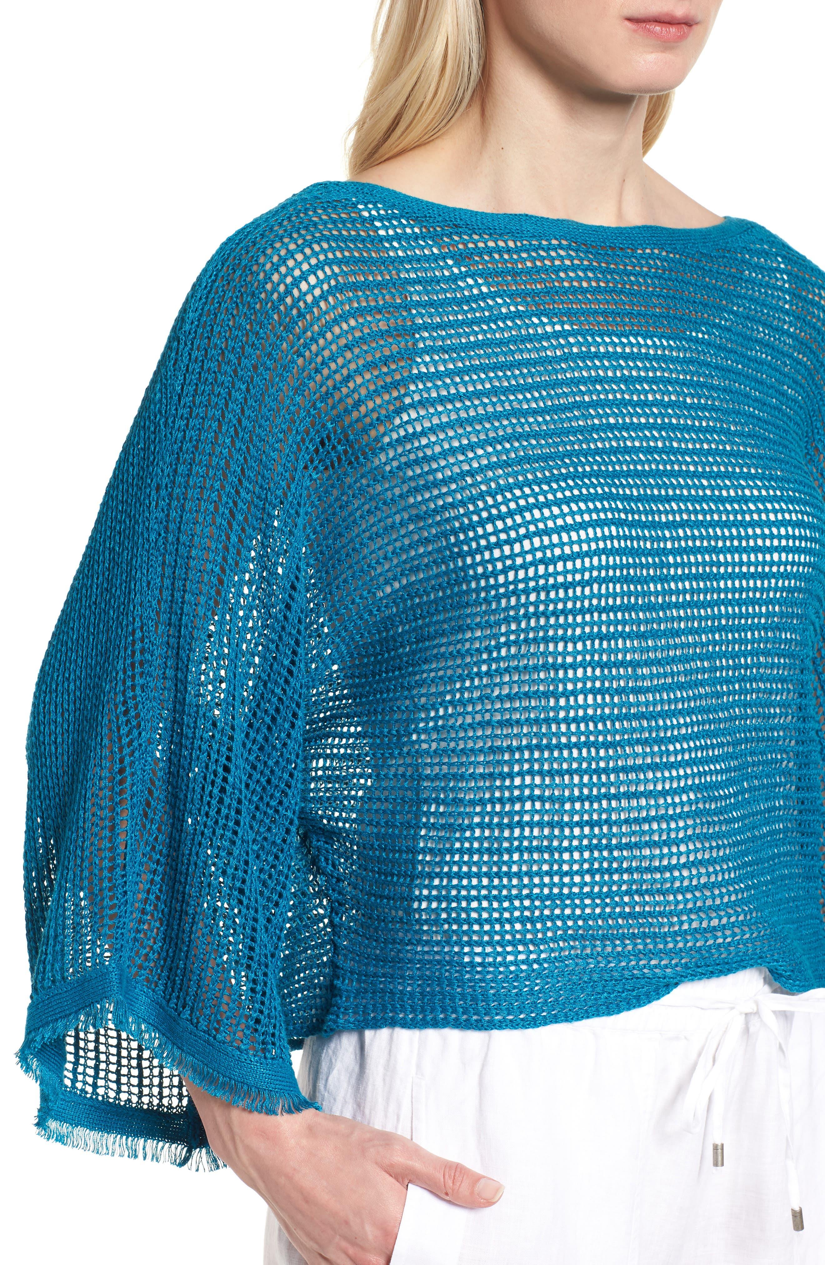 Organic Linen Short Sweater,                             Alternate thumbnail 4, color,                             Jewel