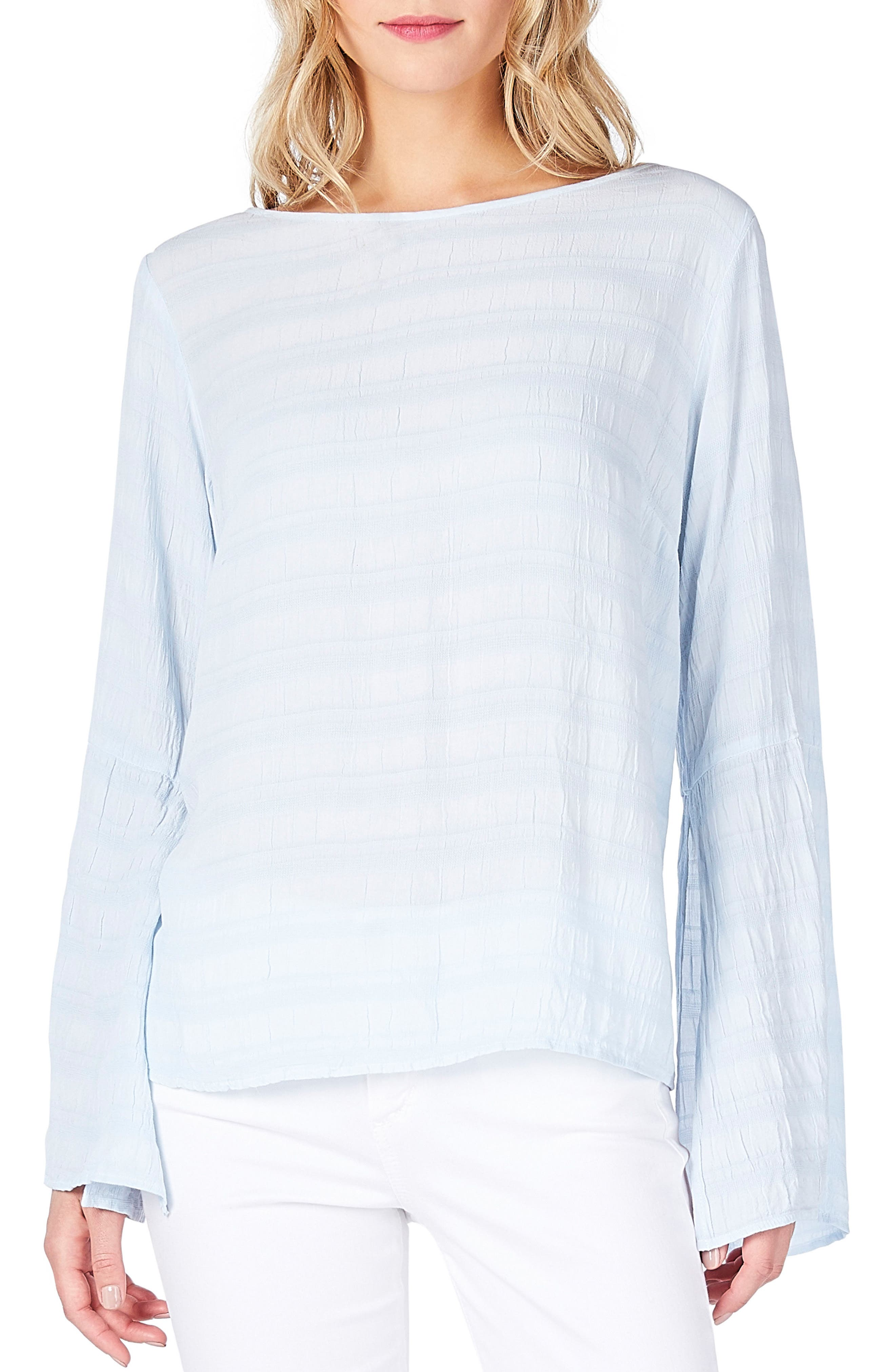 Slit Bell Sleeve Top,                         Main,                         color, Sea Glass