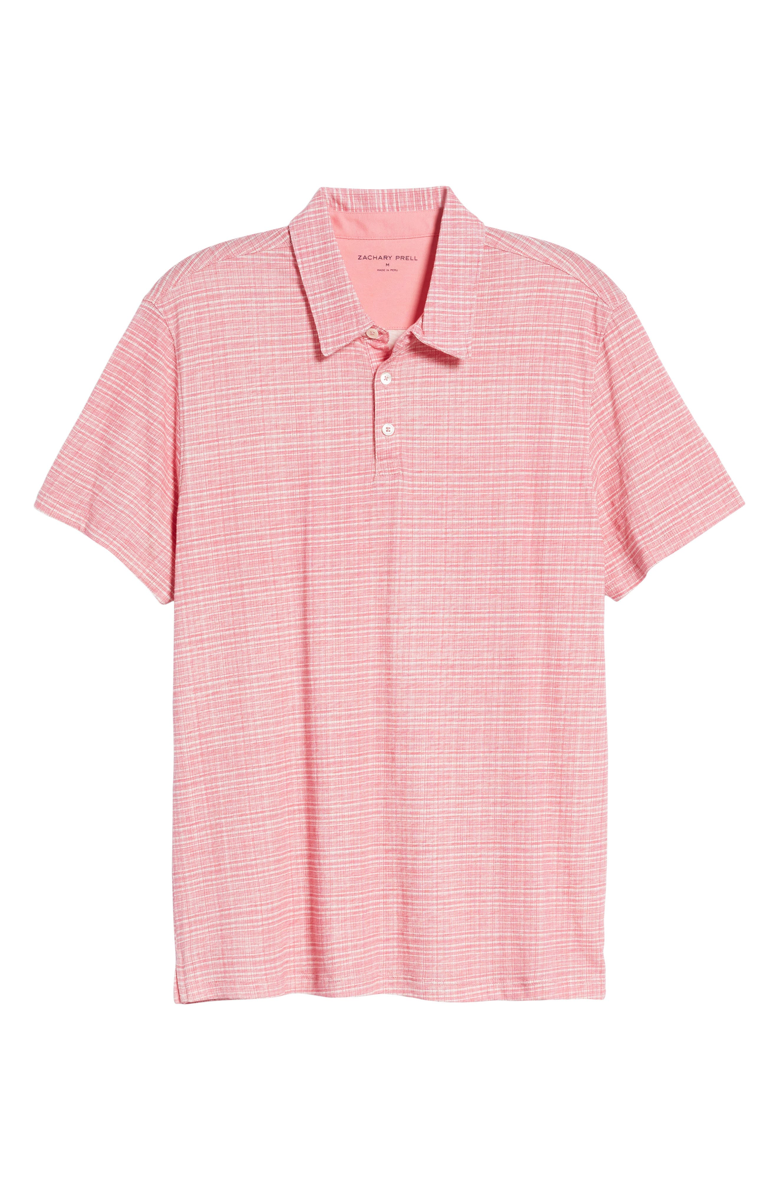 Cedar Regular Fit Grid Print Polo,                             Alternate thumbnail 7, color,                             Pink