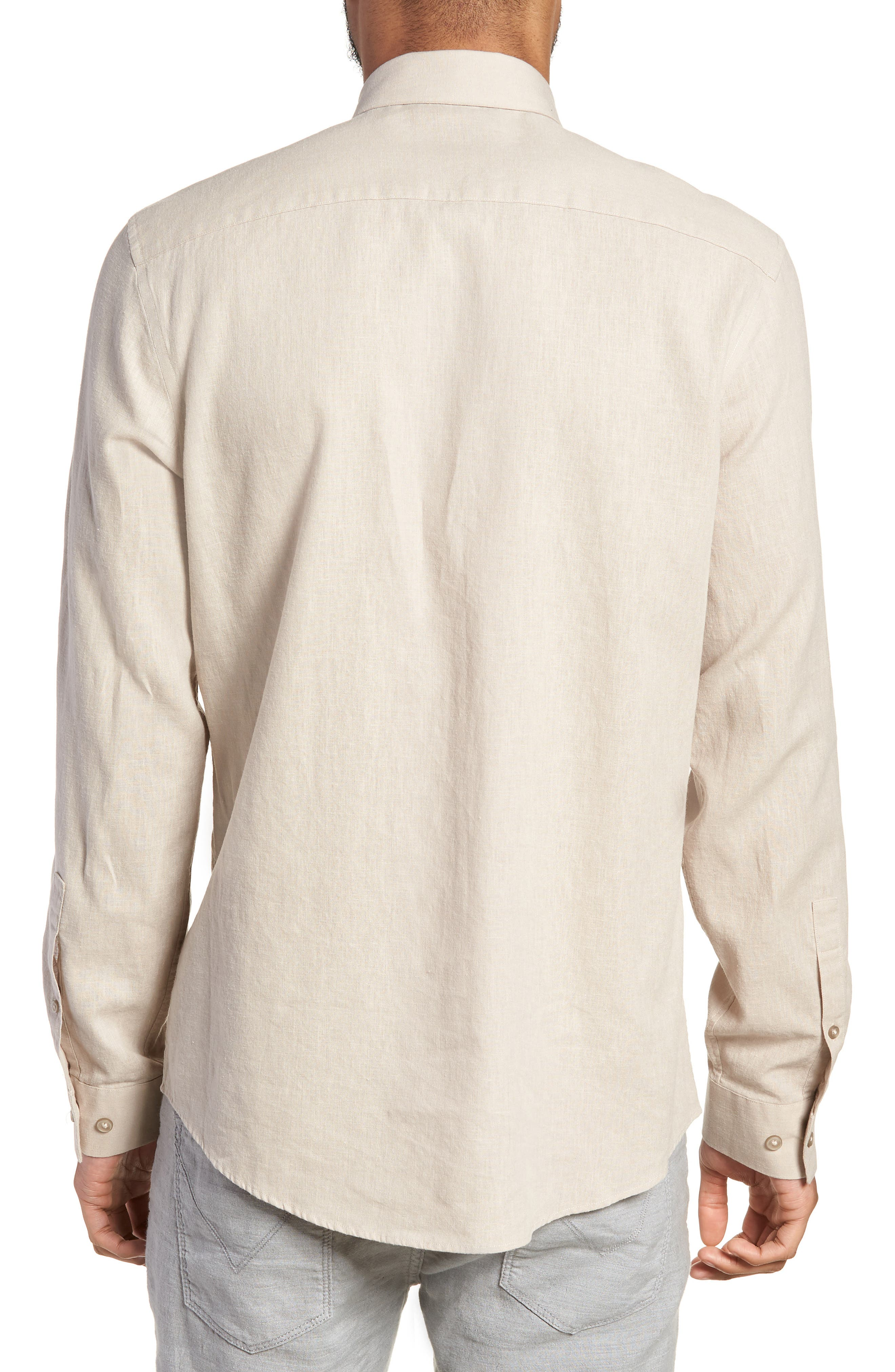 Linen Blend Sport Shirt,                             Alternate thumbnail 3, color,                             Beige Bliss