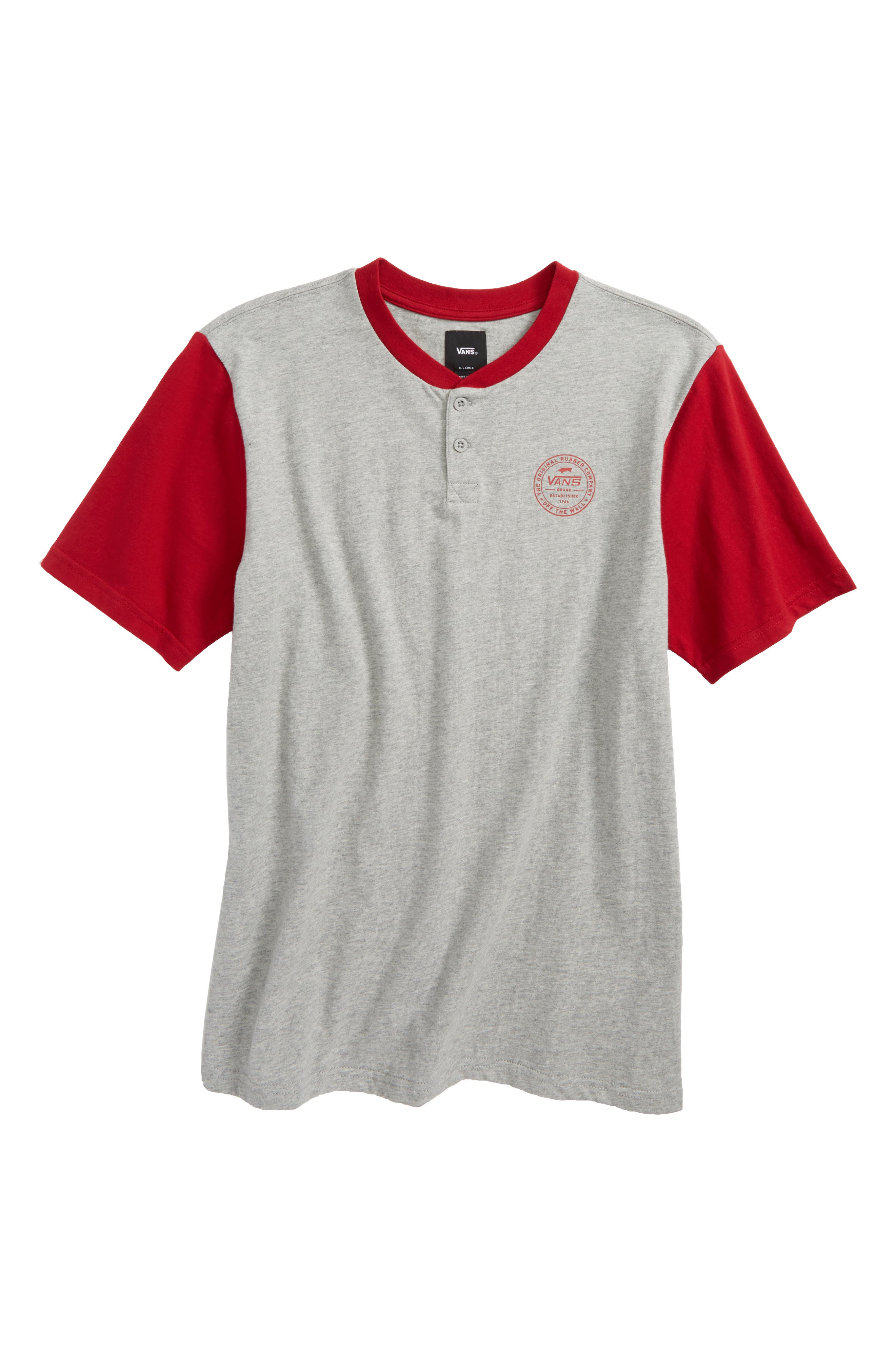 Denton Henley Shirt,                             Main thumbnail 1, color,                             Cement Heather/ Chili Pepper