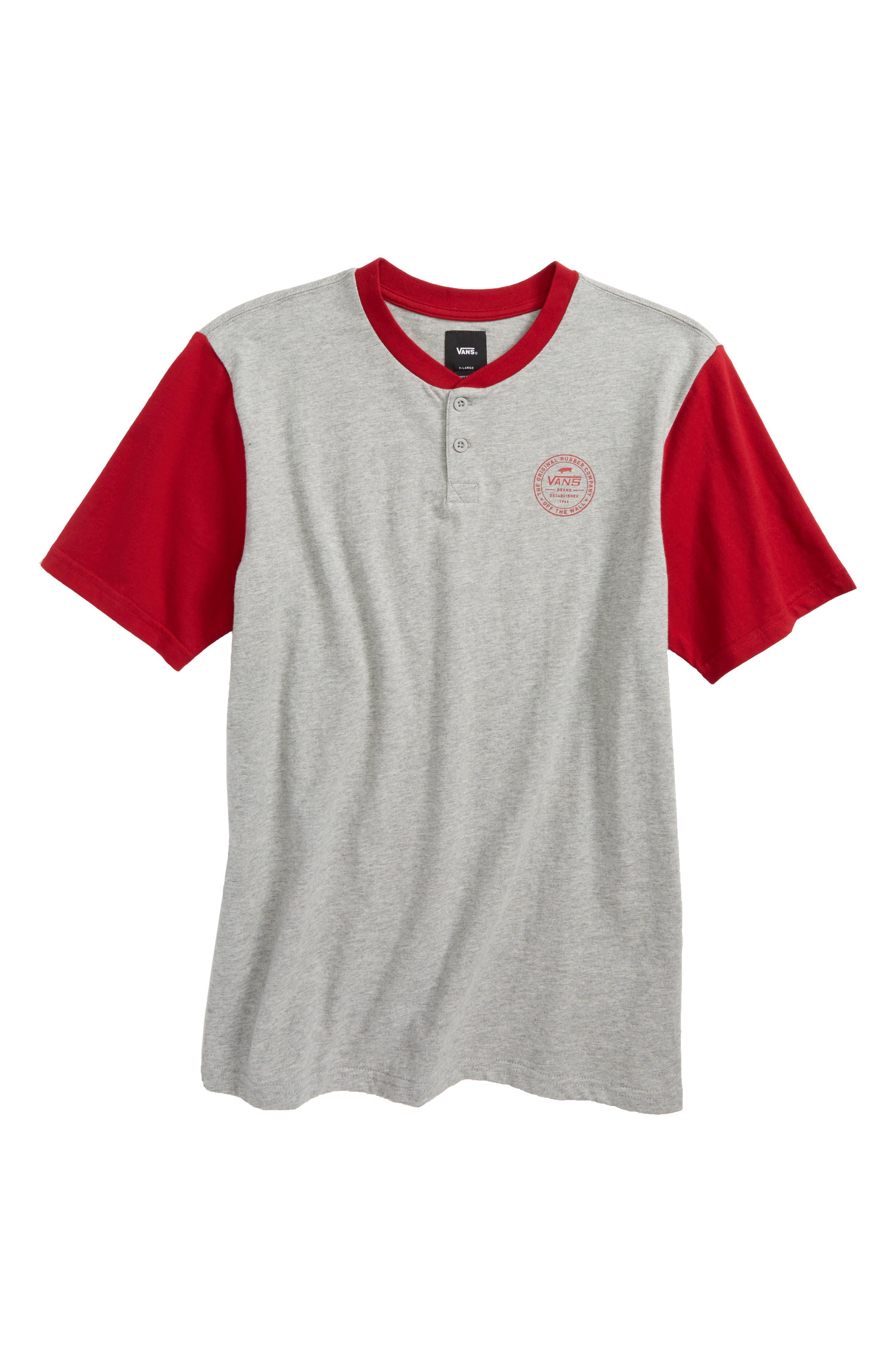 Denton Henley Shirt,                         Main,                         color, Cement Heather/ Chili Pepper