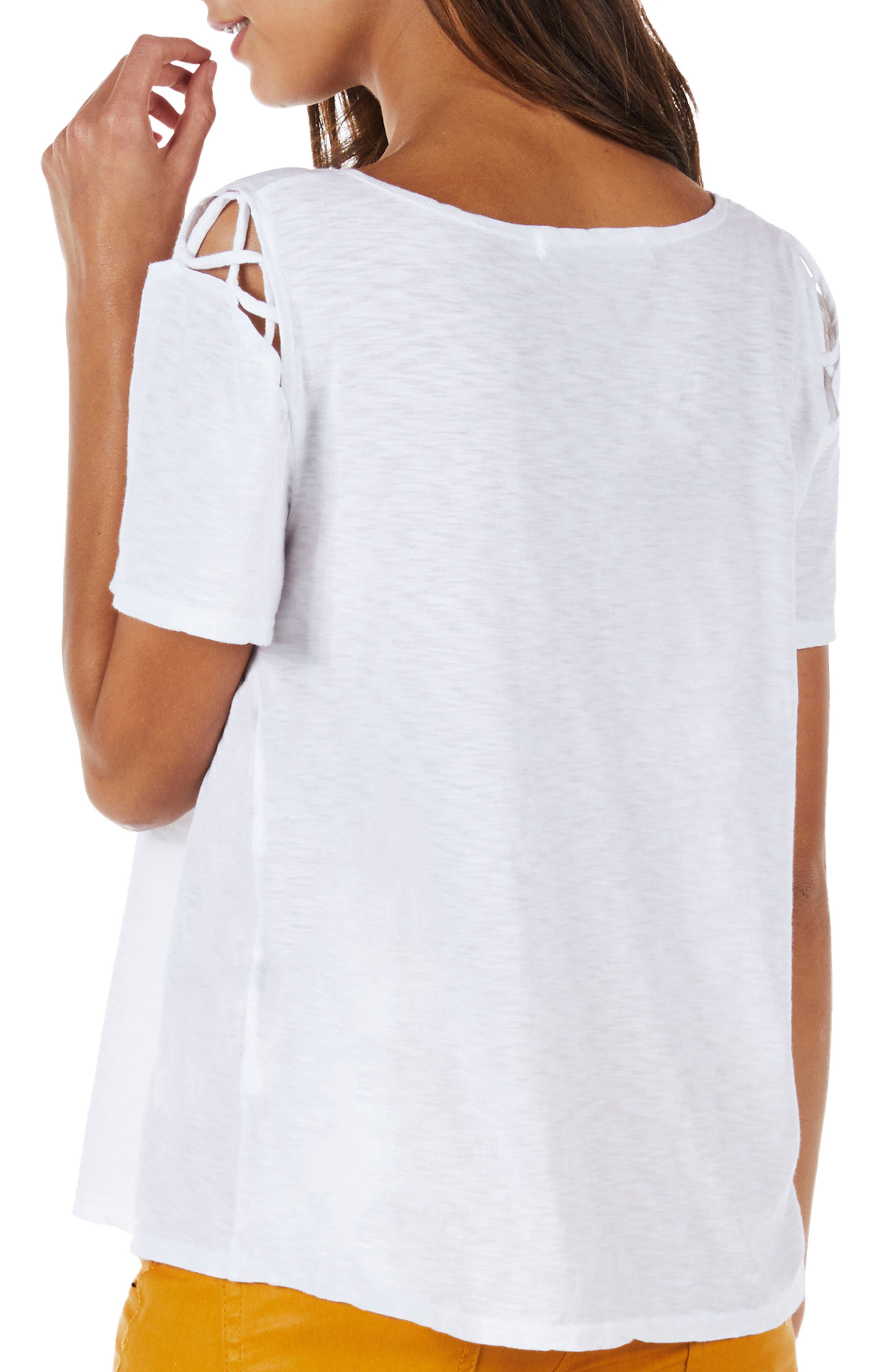 Crisscross Detail Swing Tee,                             Alternate thumbnail 2, color,                             White