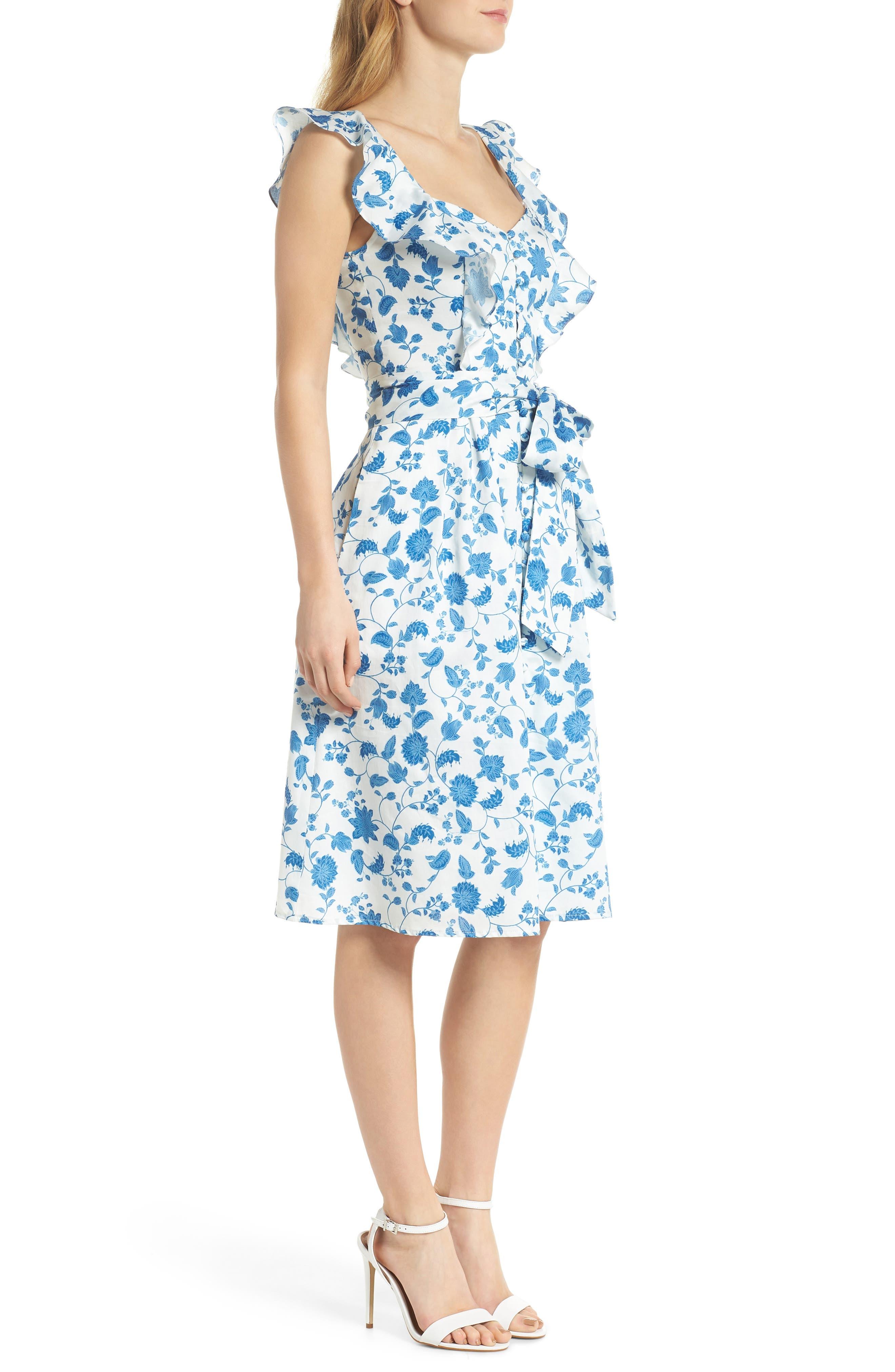 Olivia Floral Wallpaper Print Fit & Flare Dress,                             Alternate thumbnail 4, color,                             Cloud/ Blue