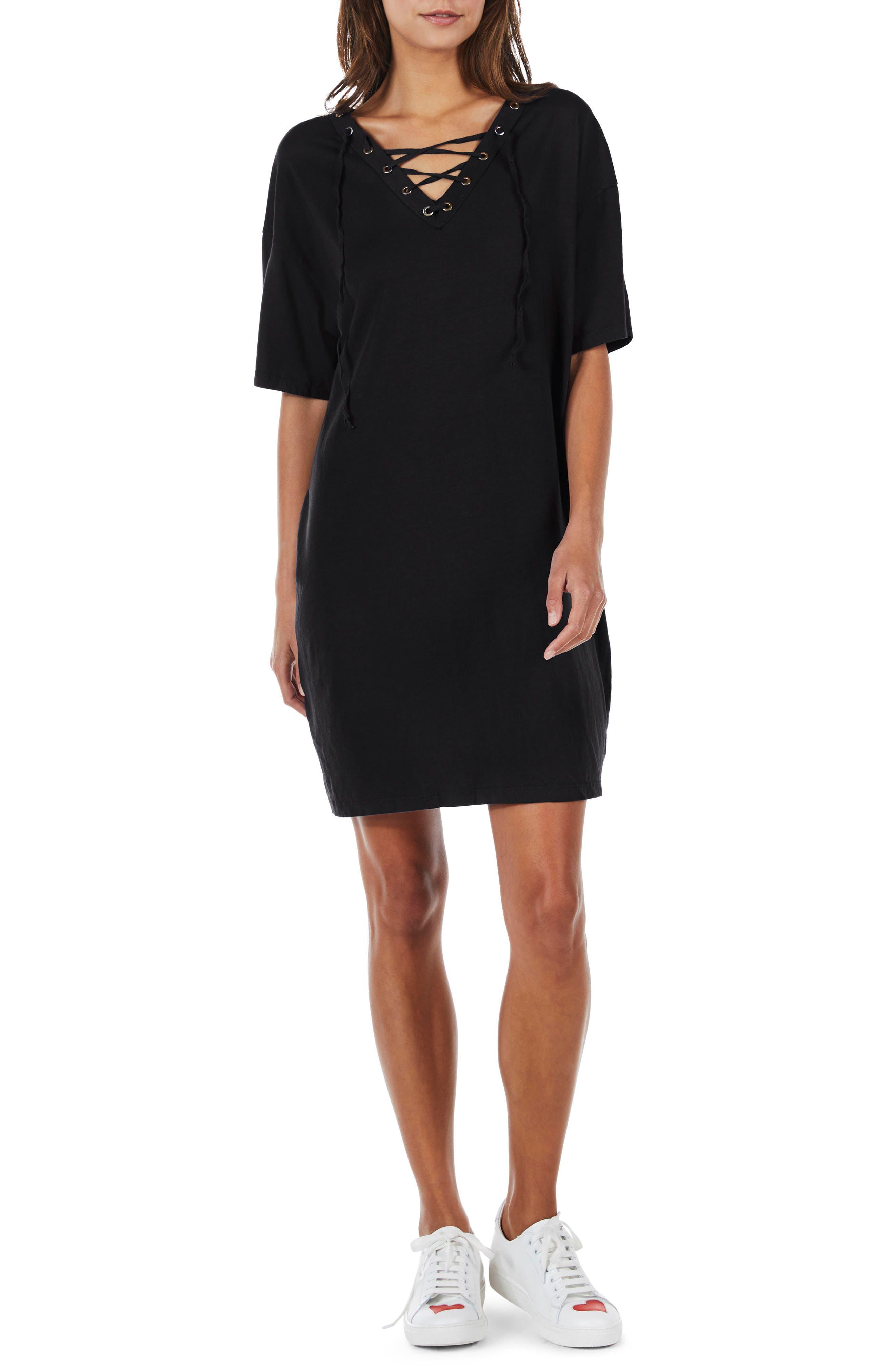 Lace-Up Shift Dress,                             Main thumbnail 1, color,                             Black