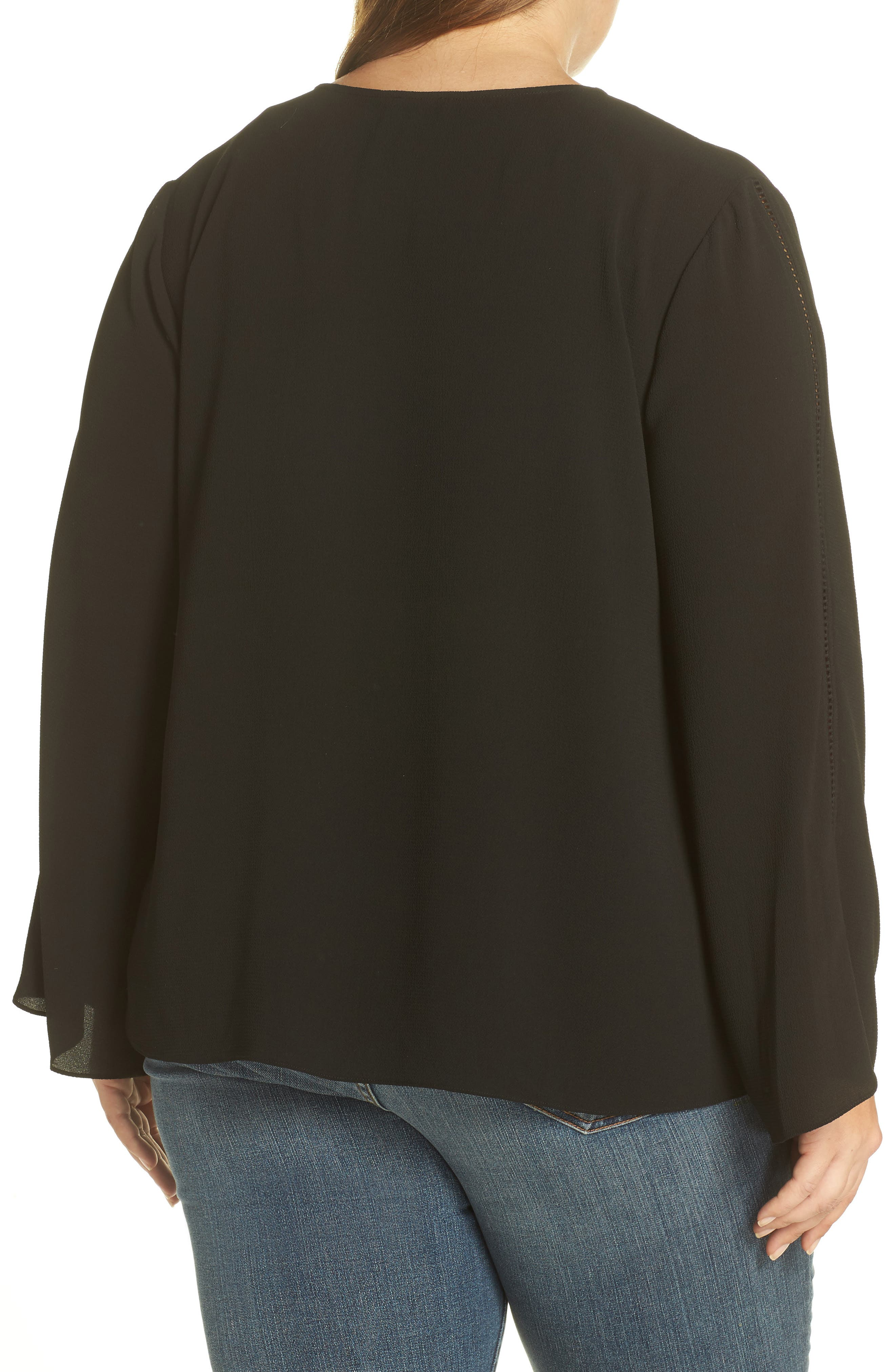 Bell Sleeve Ladder Stitch Top,                             Alternate thumbnail 2, color,                             Rich Black