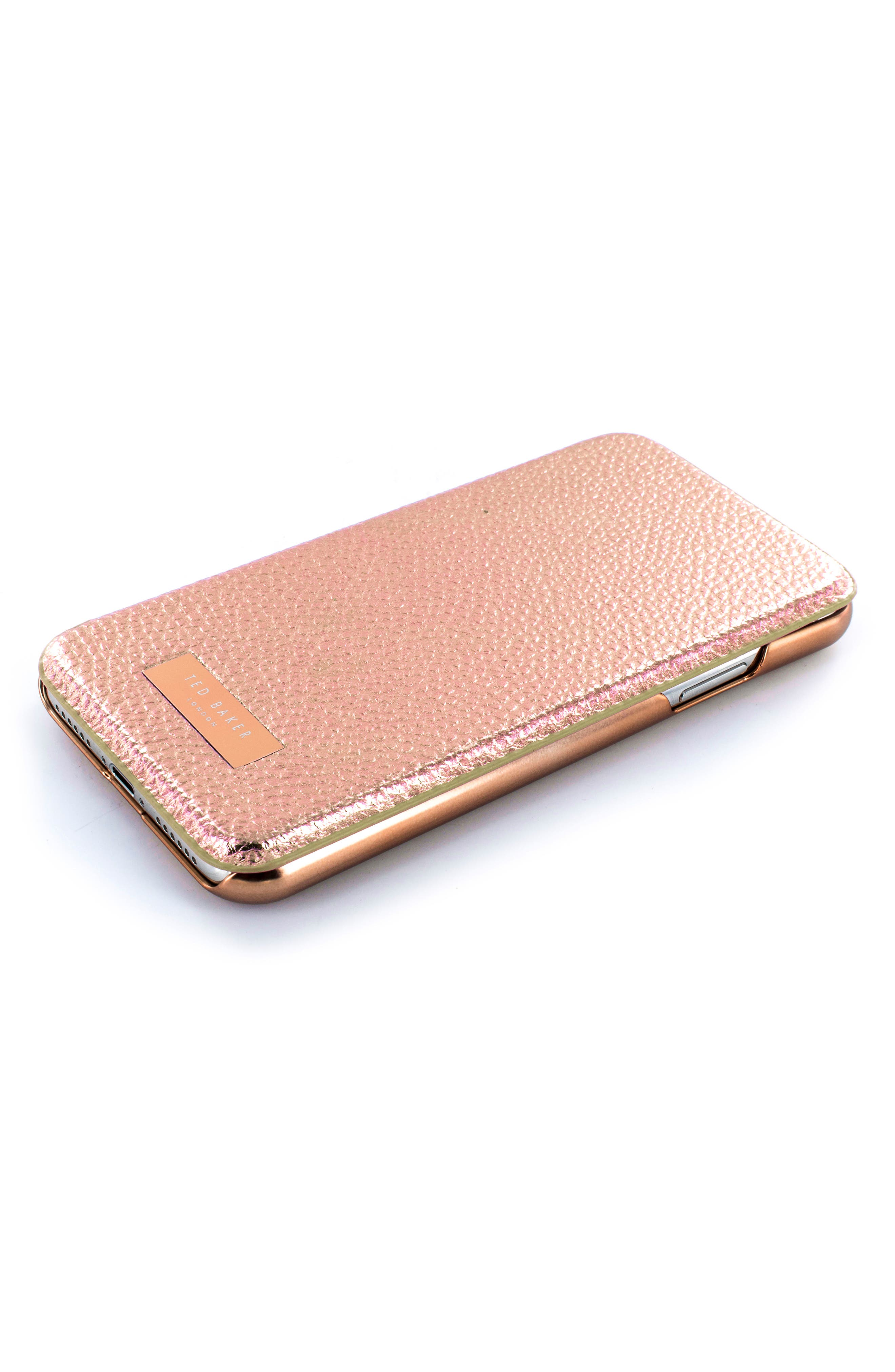 Fenela Faux Leather iPhone X Mirror Folio Case,                             Alternate thumbnail 5, color,                             Rose Gold