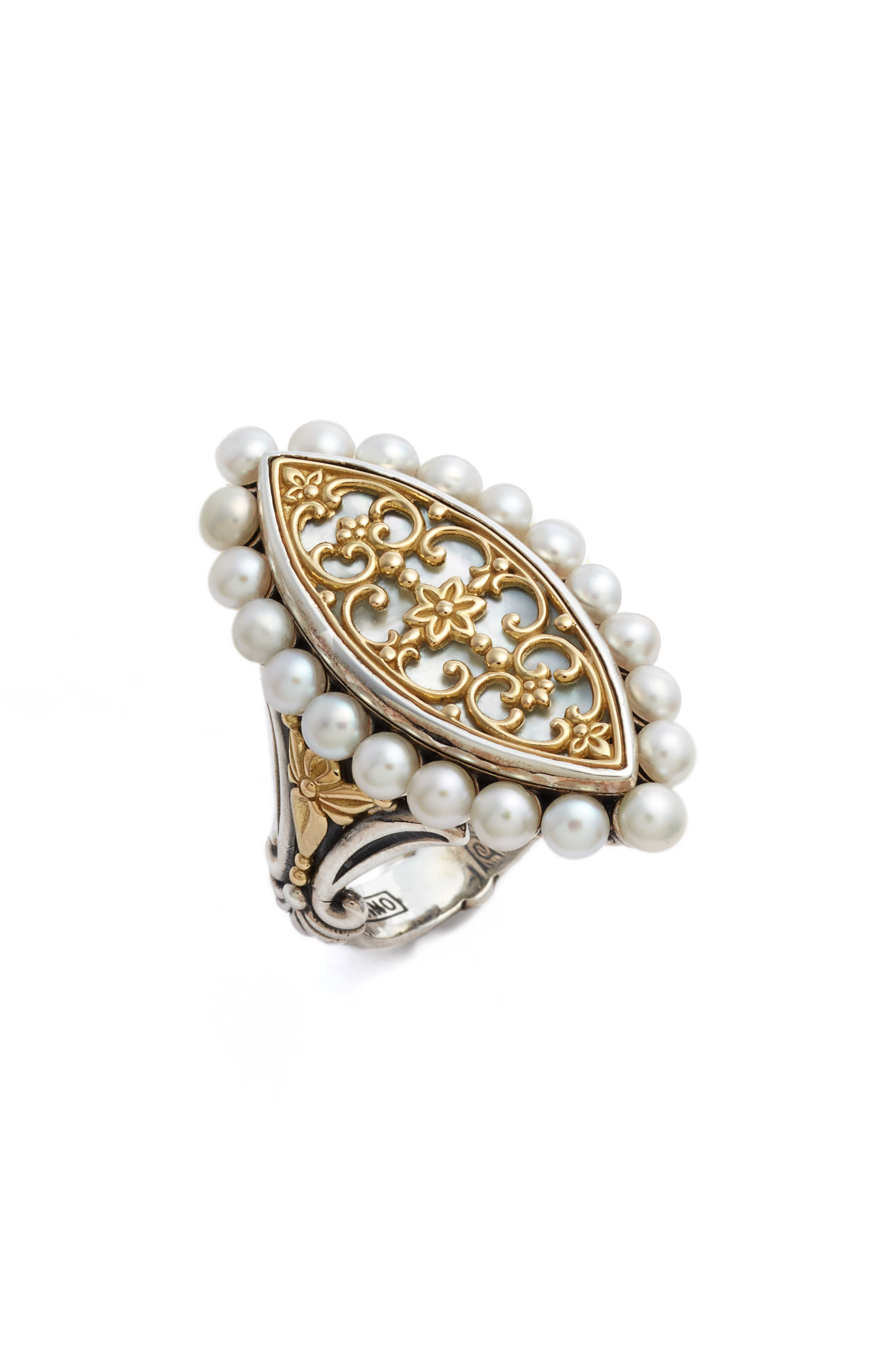 Sterling & Cultured Pearl Marquise Ring,                             Main thumbnail 1, color,                             Silver/ Gold/ White