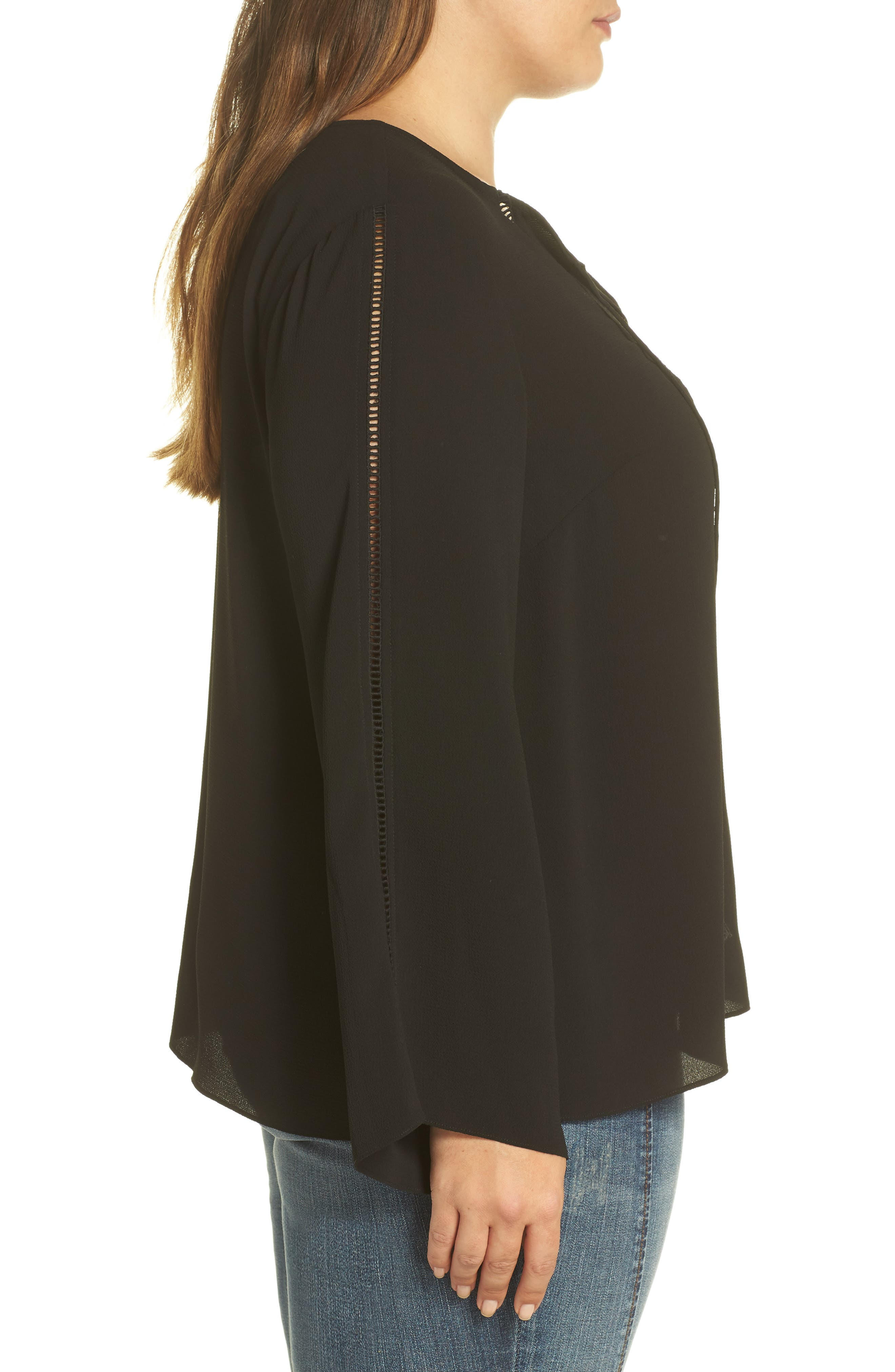 Bell Sleeve Ladder Stitch Top,                             Alternate thumbnail 3, color,                             Rich Black