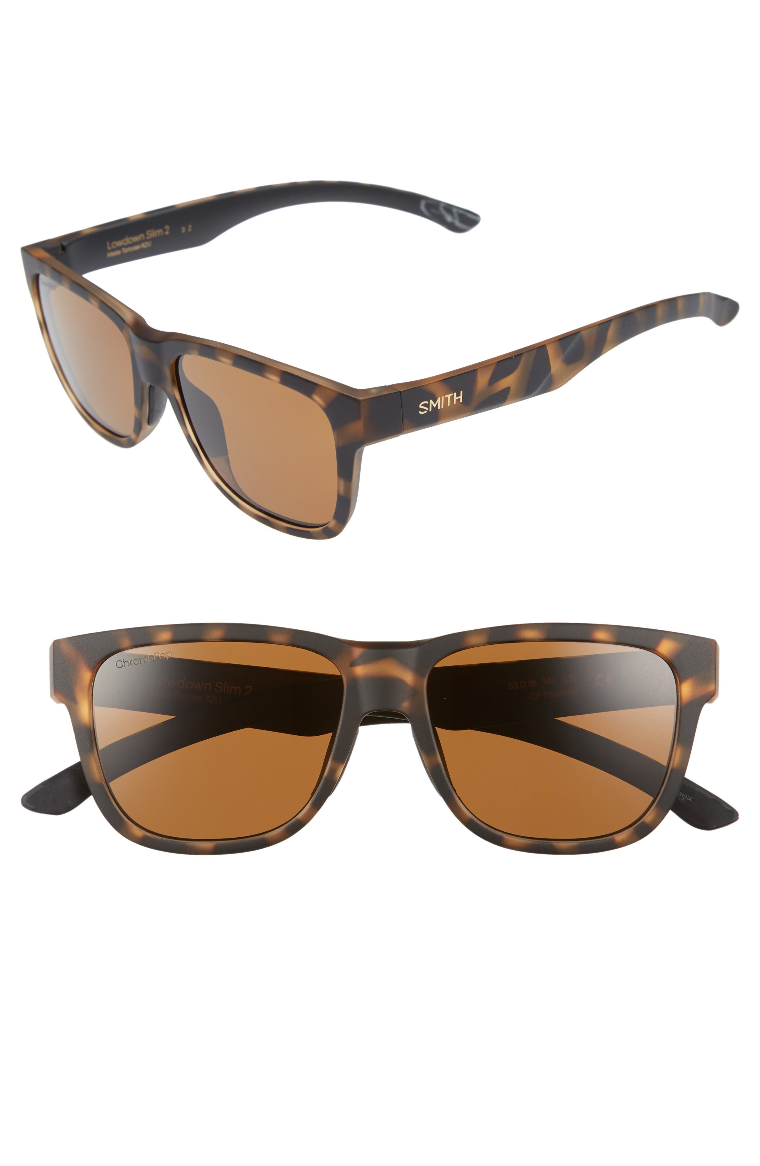 Lowdown Slim 2 53mm ChromaPop<sup>™</sup> Square Sunglasses,                             Main thumbnail 1, color,                             Matte Tortoise