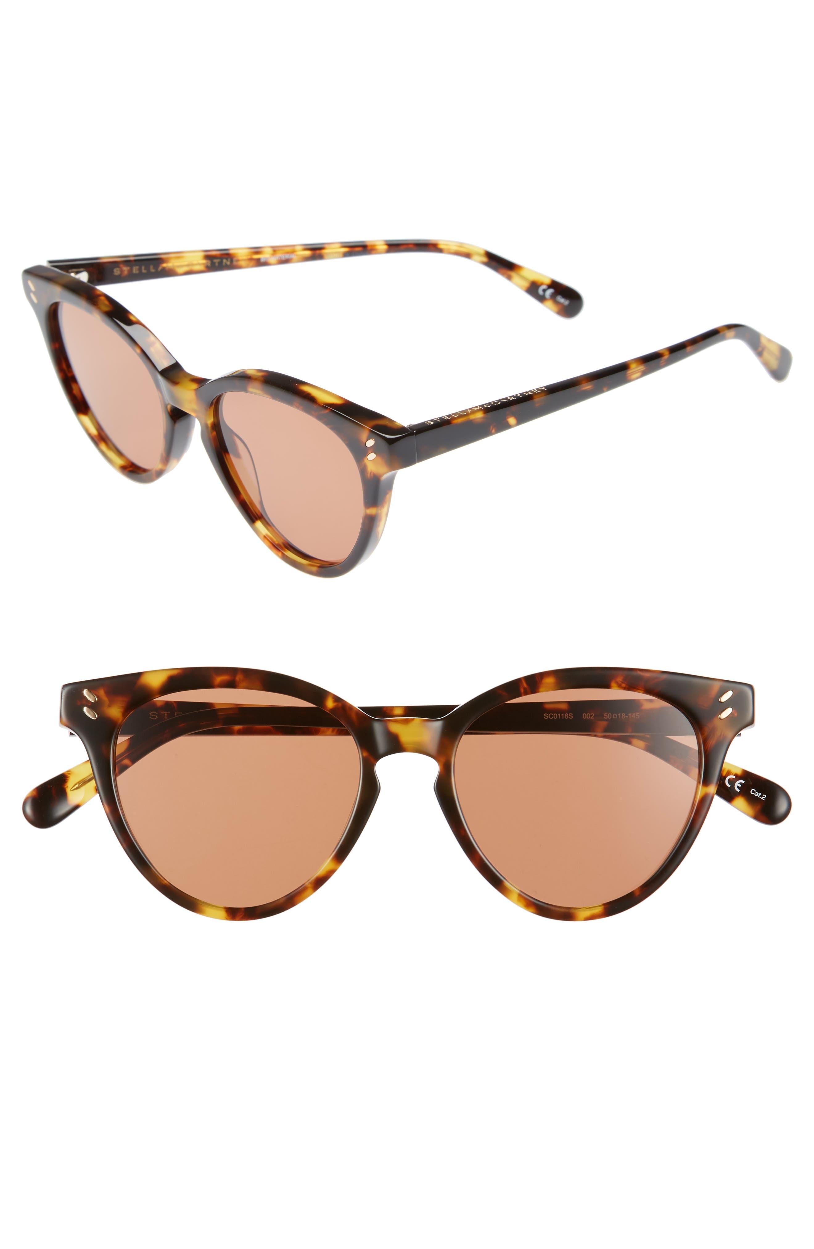 50mm Round Sunglasses,                             Main thumbnail 1, color,                             Medium Havana
