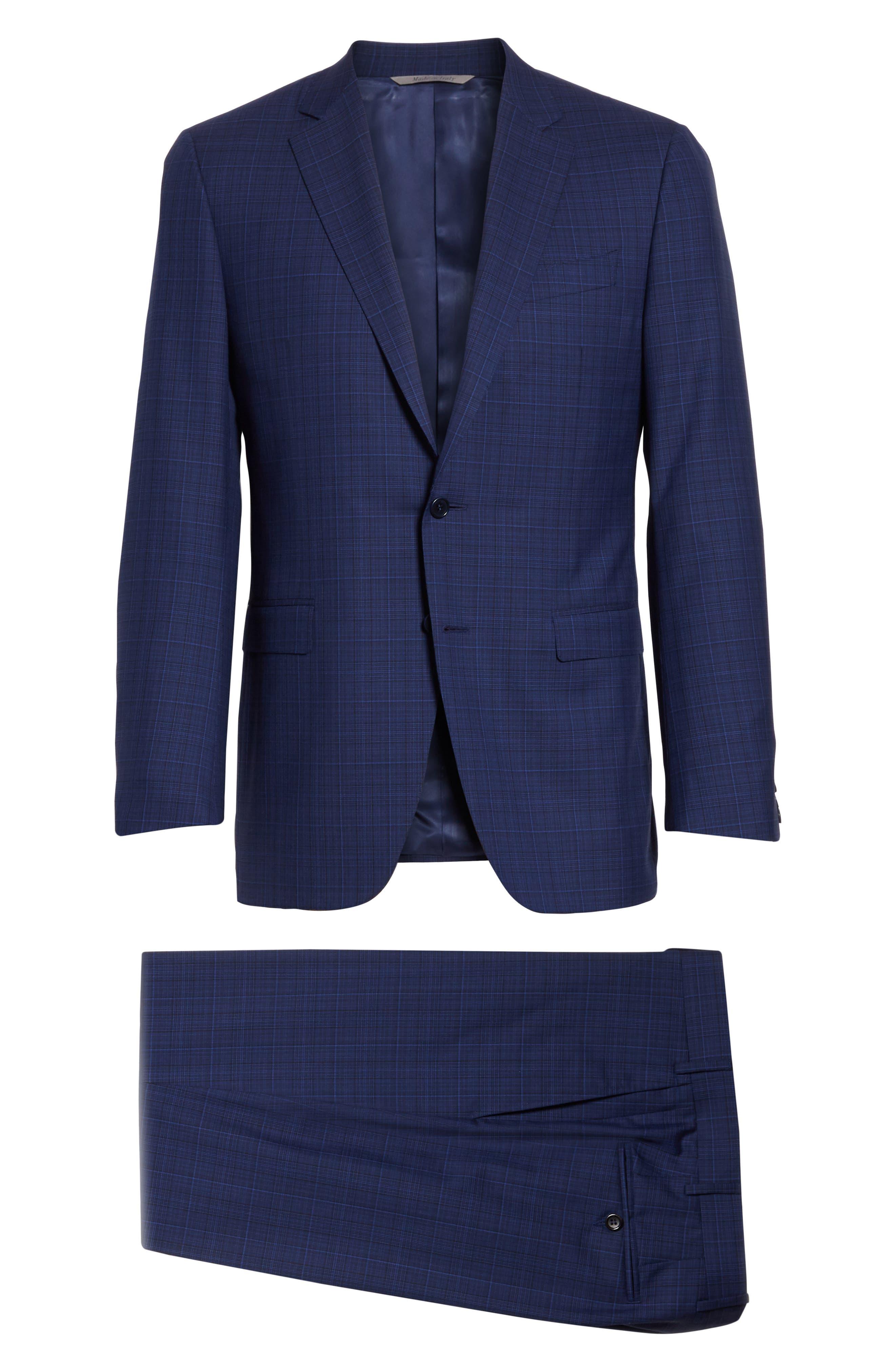Classic Fit Tonal Plaid Wool Suit,                             Alternate thumbnail 8, color,                             Blue
