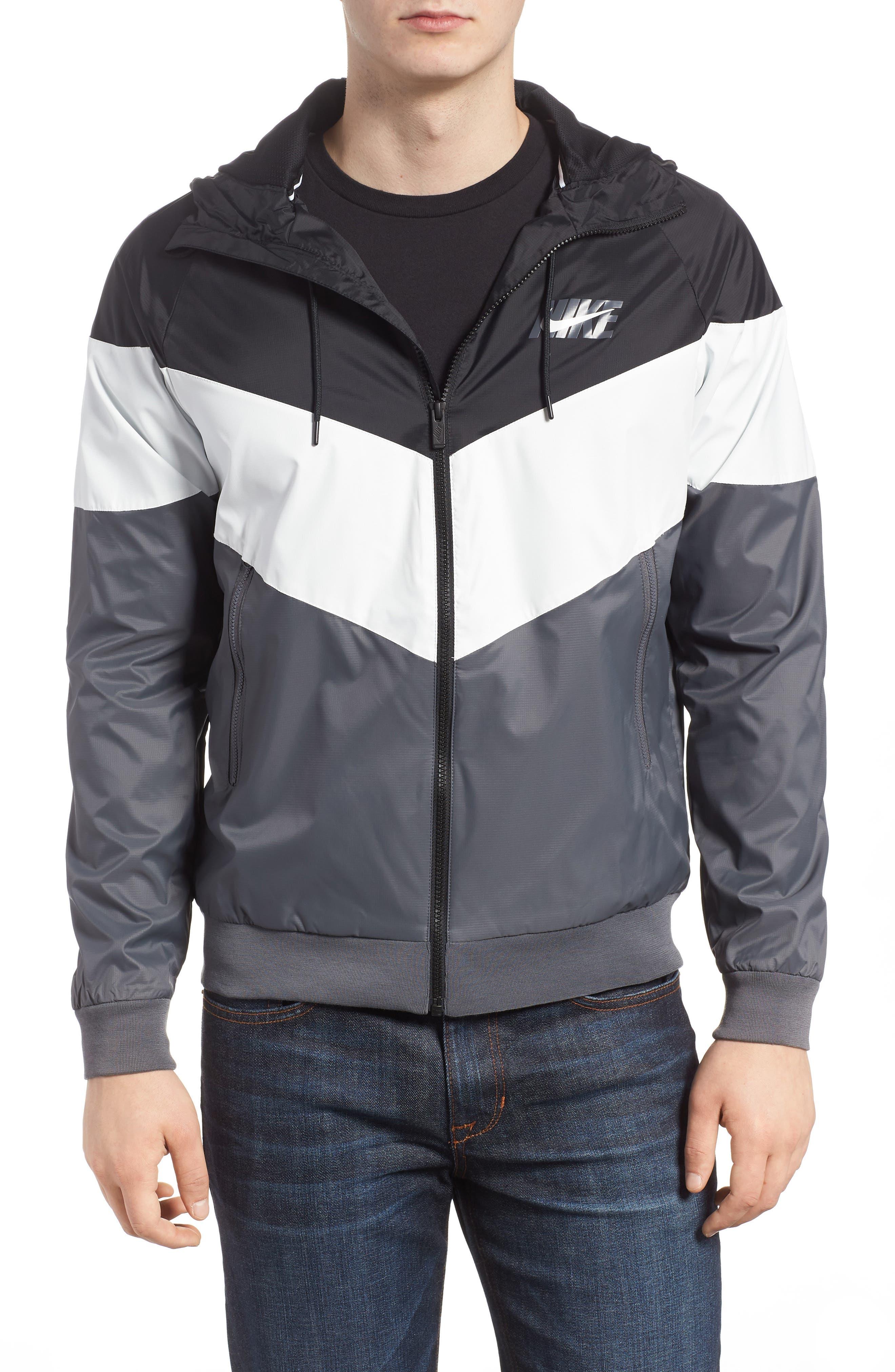 Windrunner Wind & Water Repellent Hooded Jacket,                         Main,                         color, Black/ Summit White/ Dark Grey