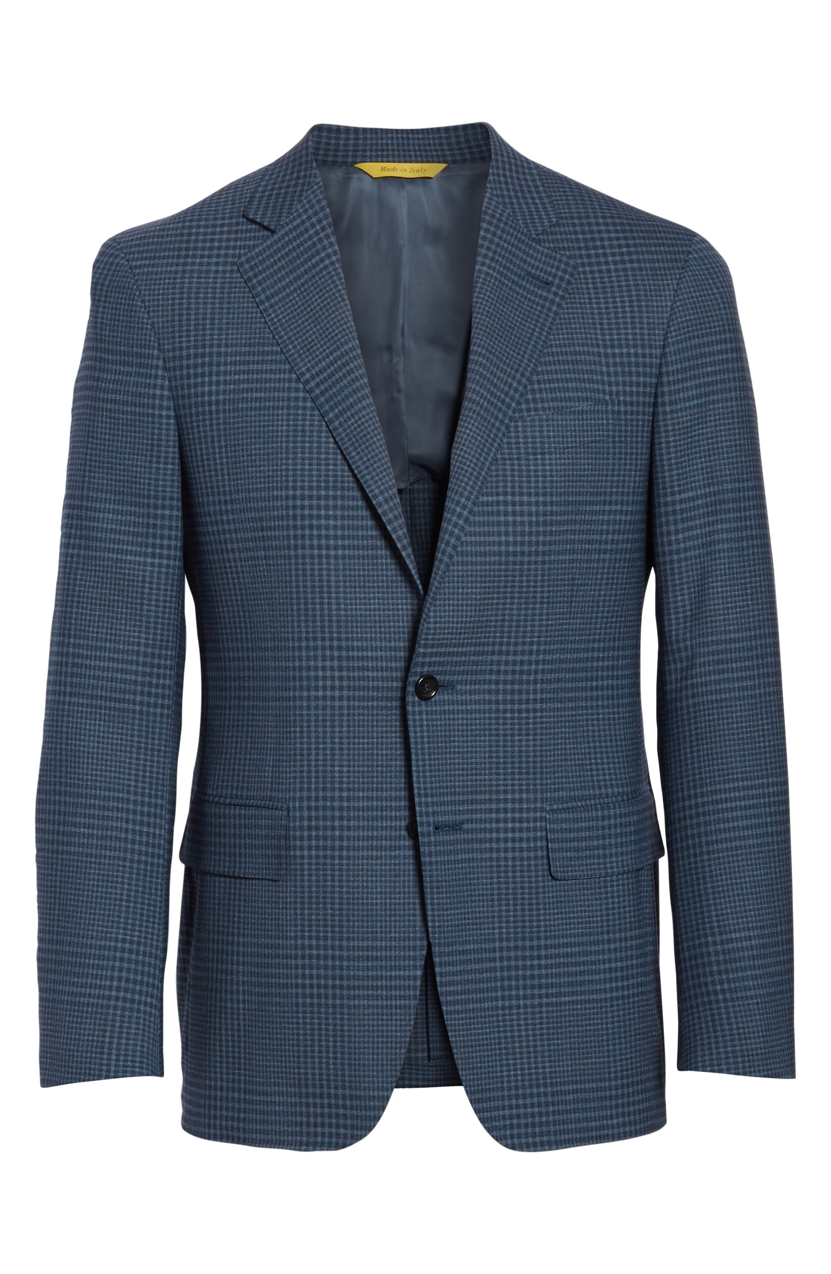 Kei Classic Fit Plaid Wool Sport Coat,                             Alternate thumbnail 6, color,                             Navy