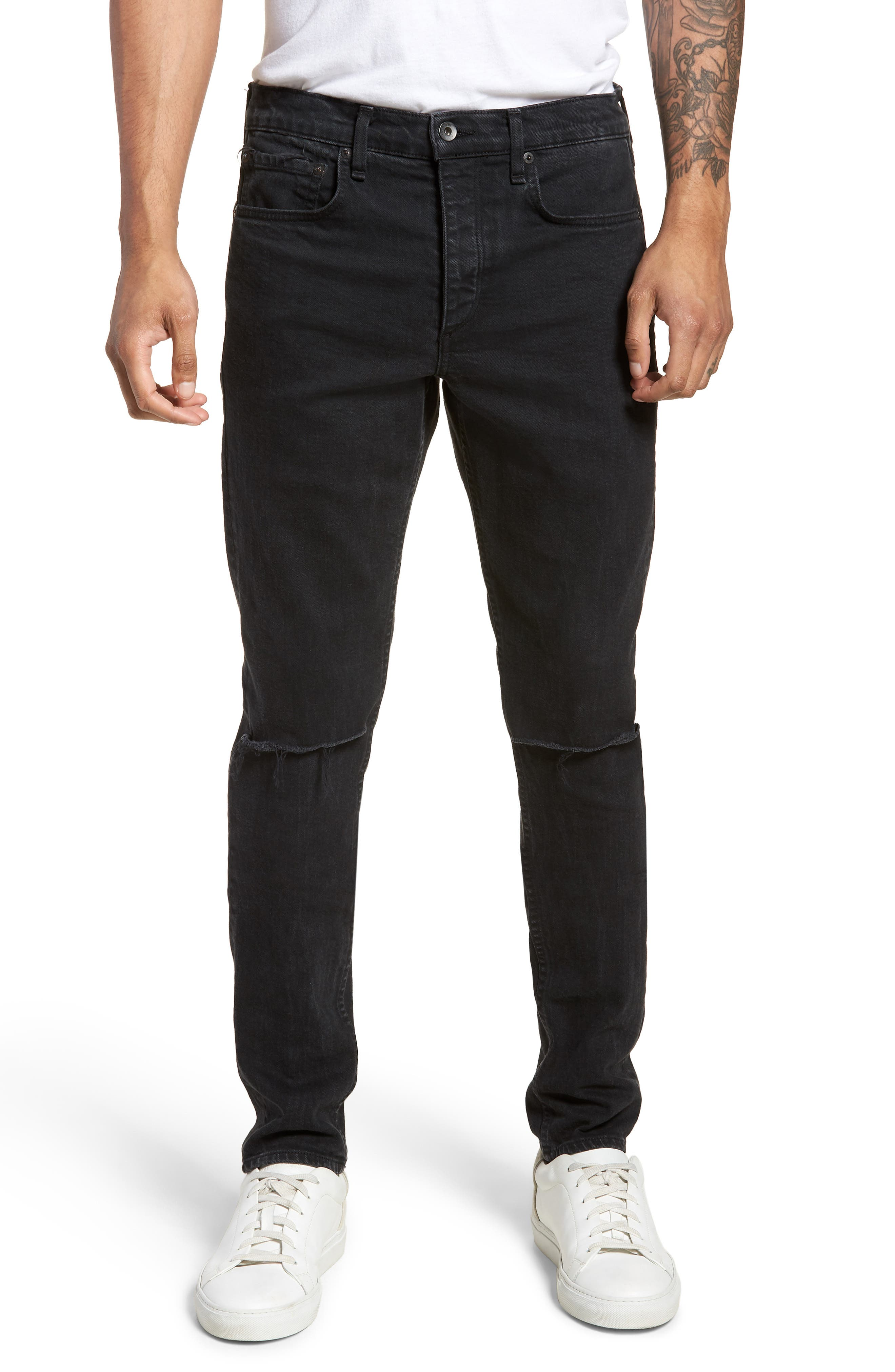 Fit 1 Skinny Fit Jeans,                             Main thumbnail 1, color,                             Shelter W/ Holes