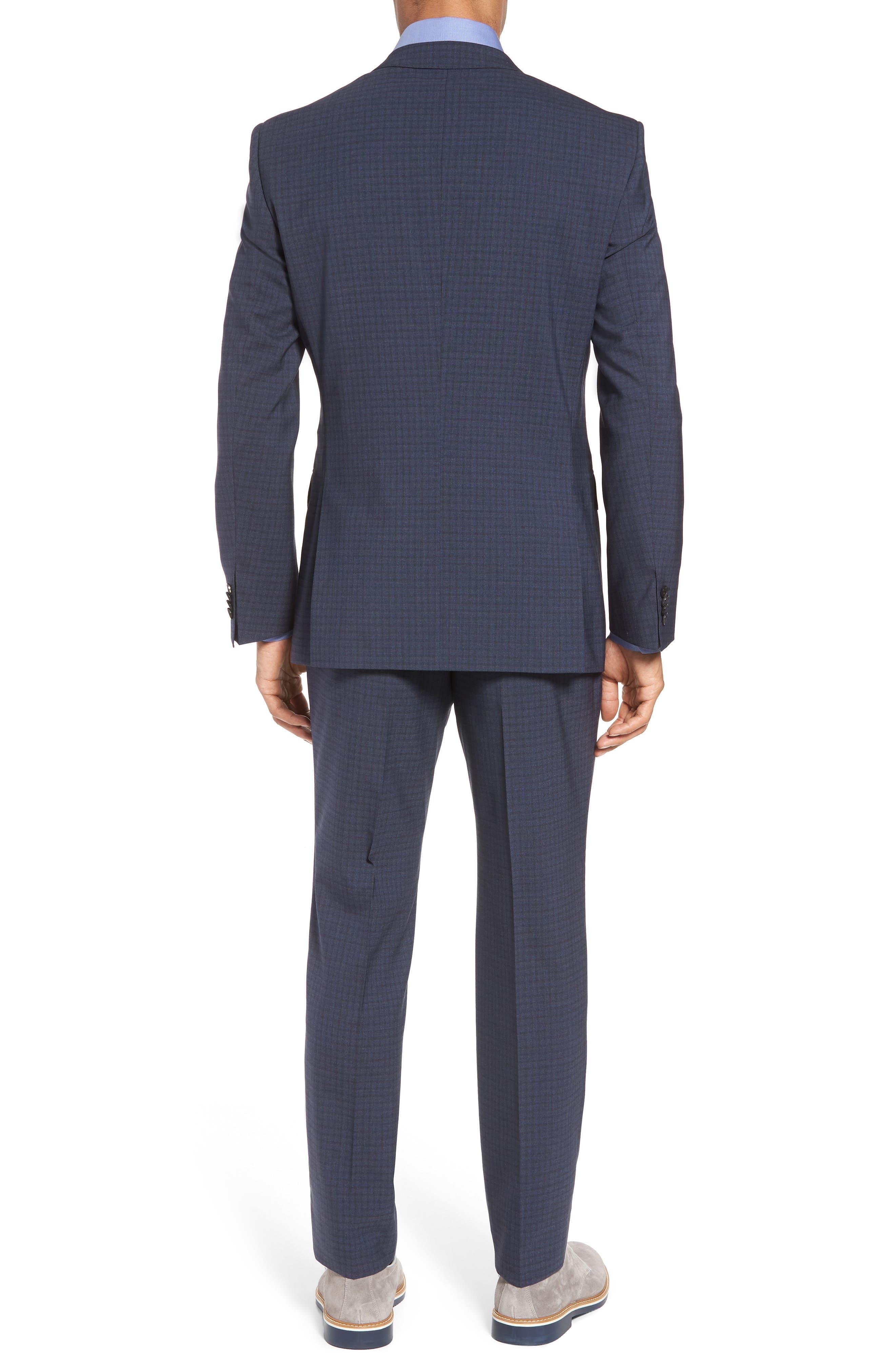 Huge/Genius Trim Fit Check Wool Suit,                             Alternate thumbnail 2, color,                             Blue/ Brown/ Charcoal