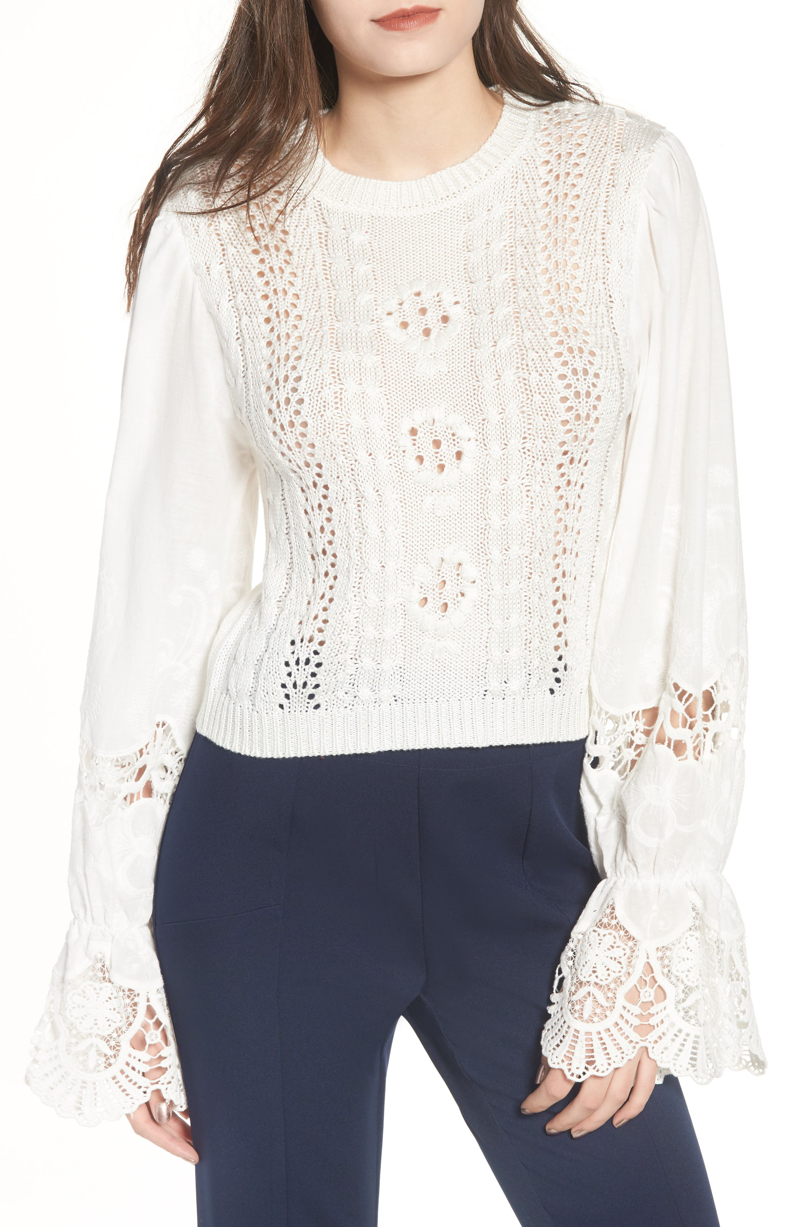 Embroidered Mixed Media Top,                         Main,                         color, White